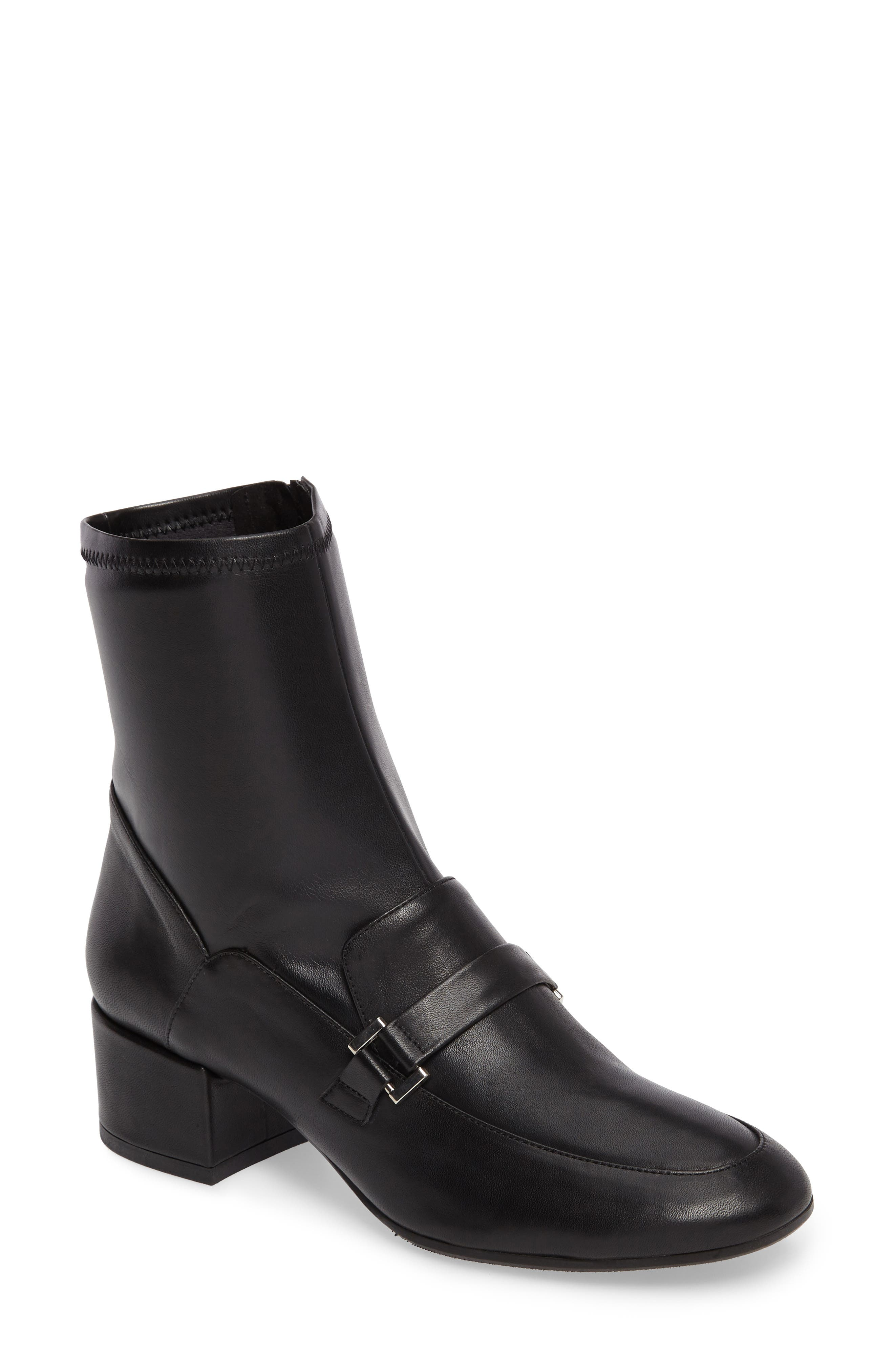 Mod Loafer Bootie,                             Main thumbnail 1, color,                             Black Stretch Leather