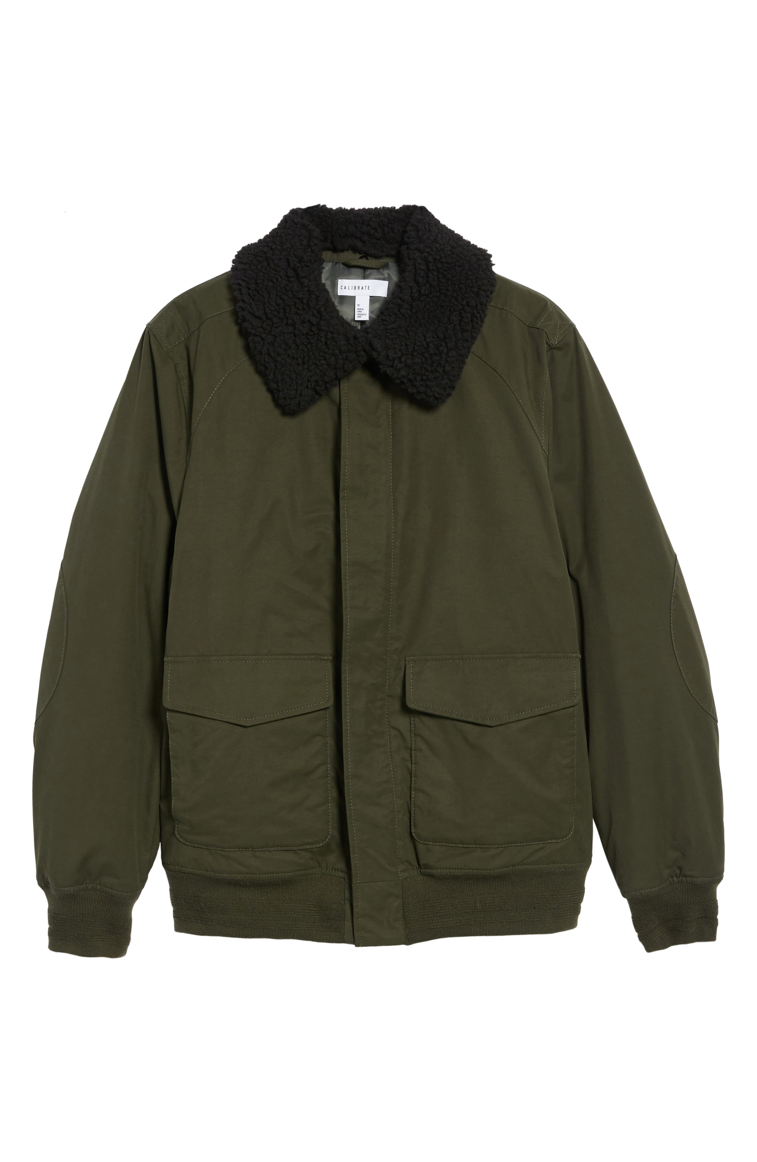 Flight Bomber Jacket with Faux Shearling Trim,                             Alternate thumbnail 5, color,                             Green Forest