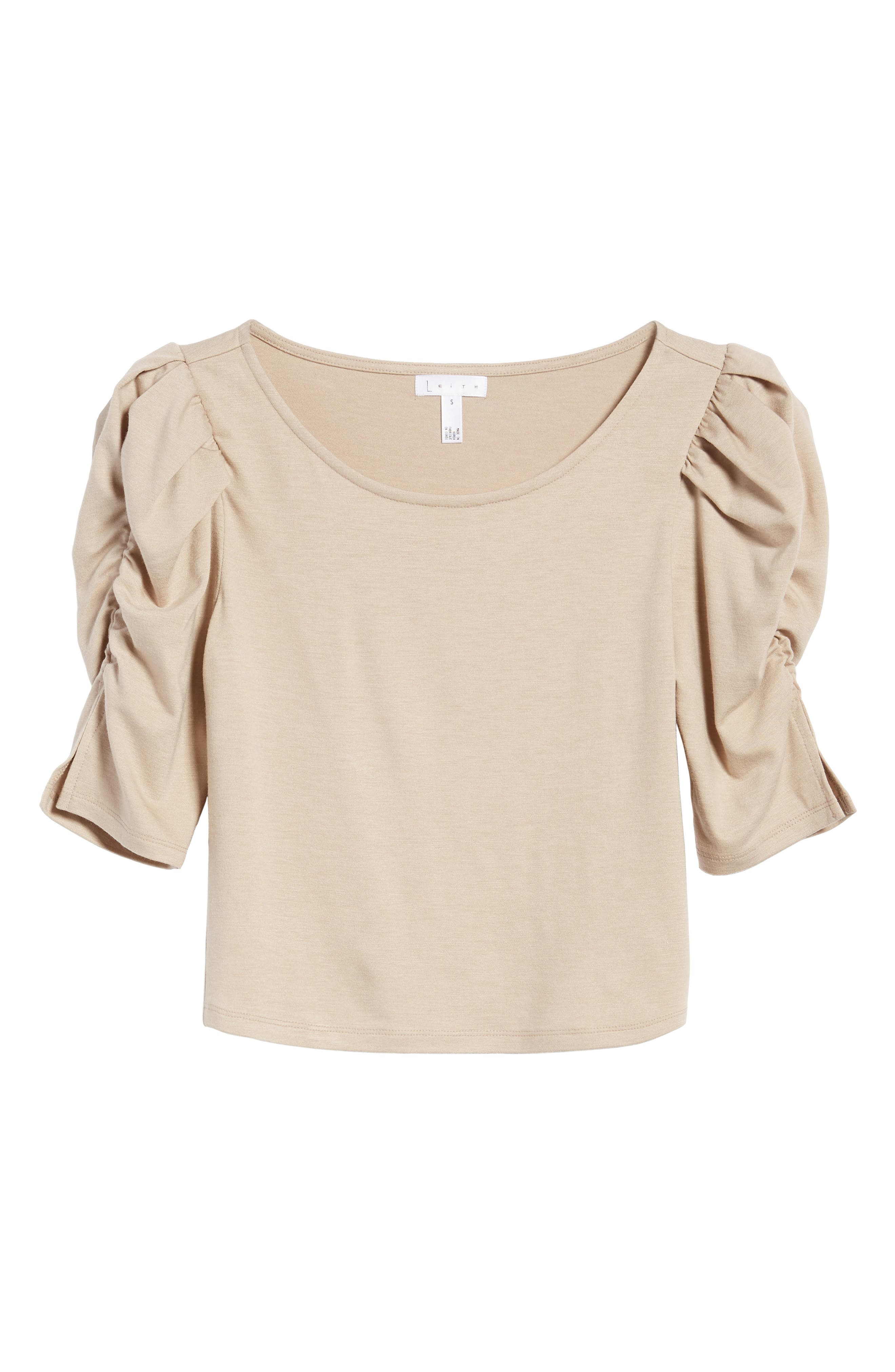 Puff Sleeve Top,                             Alternate thumbnail 6, color,                             Beige Oatmeal