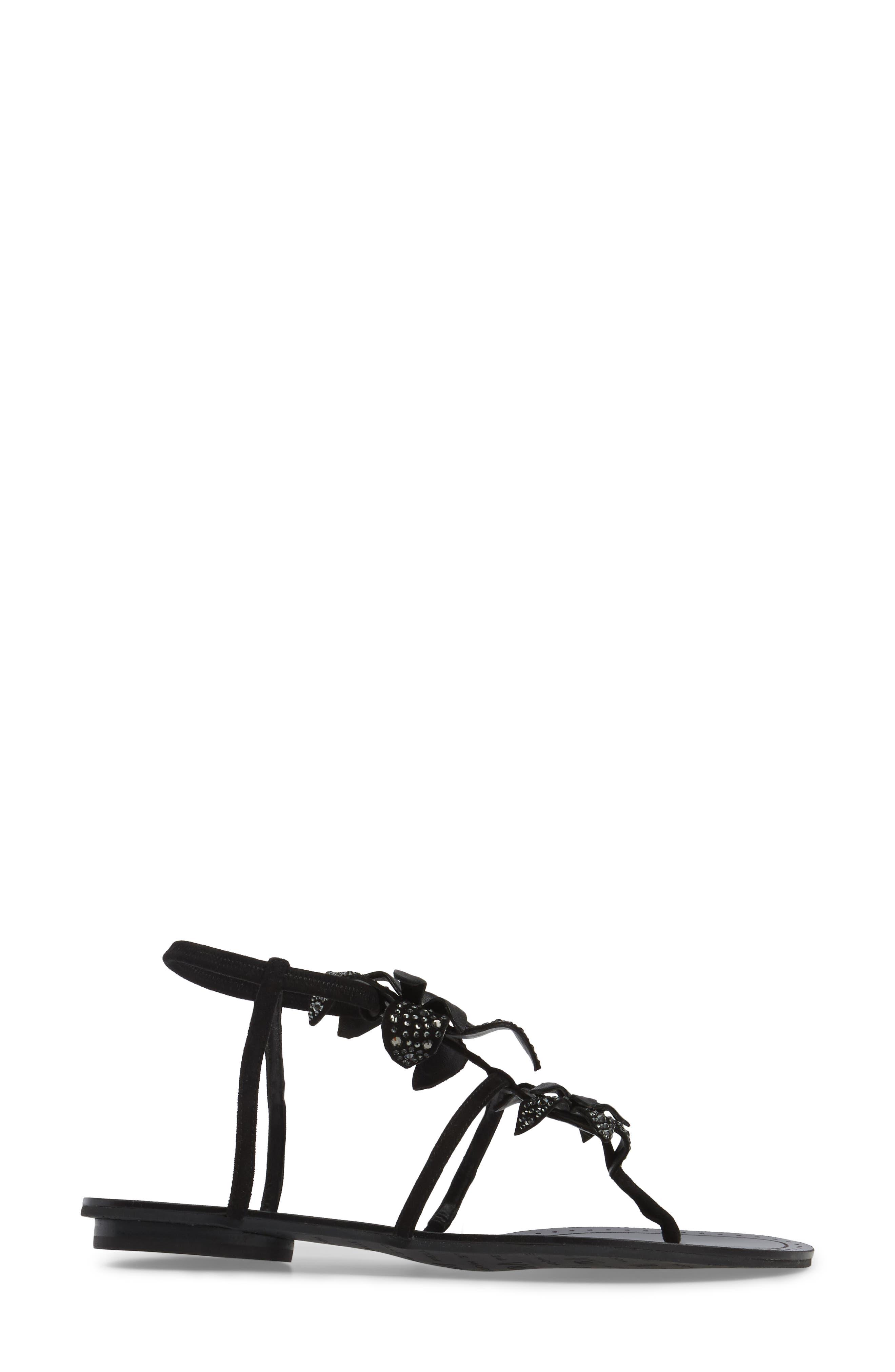 Ellis Strappy Flowered Sandal,                             Alternate thumbnail 3, color,                             Black Leather