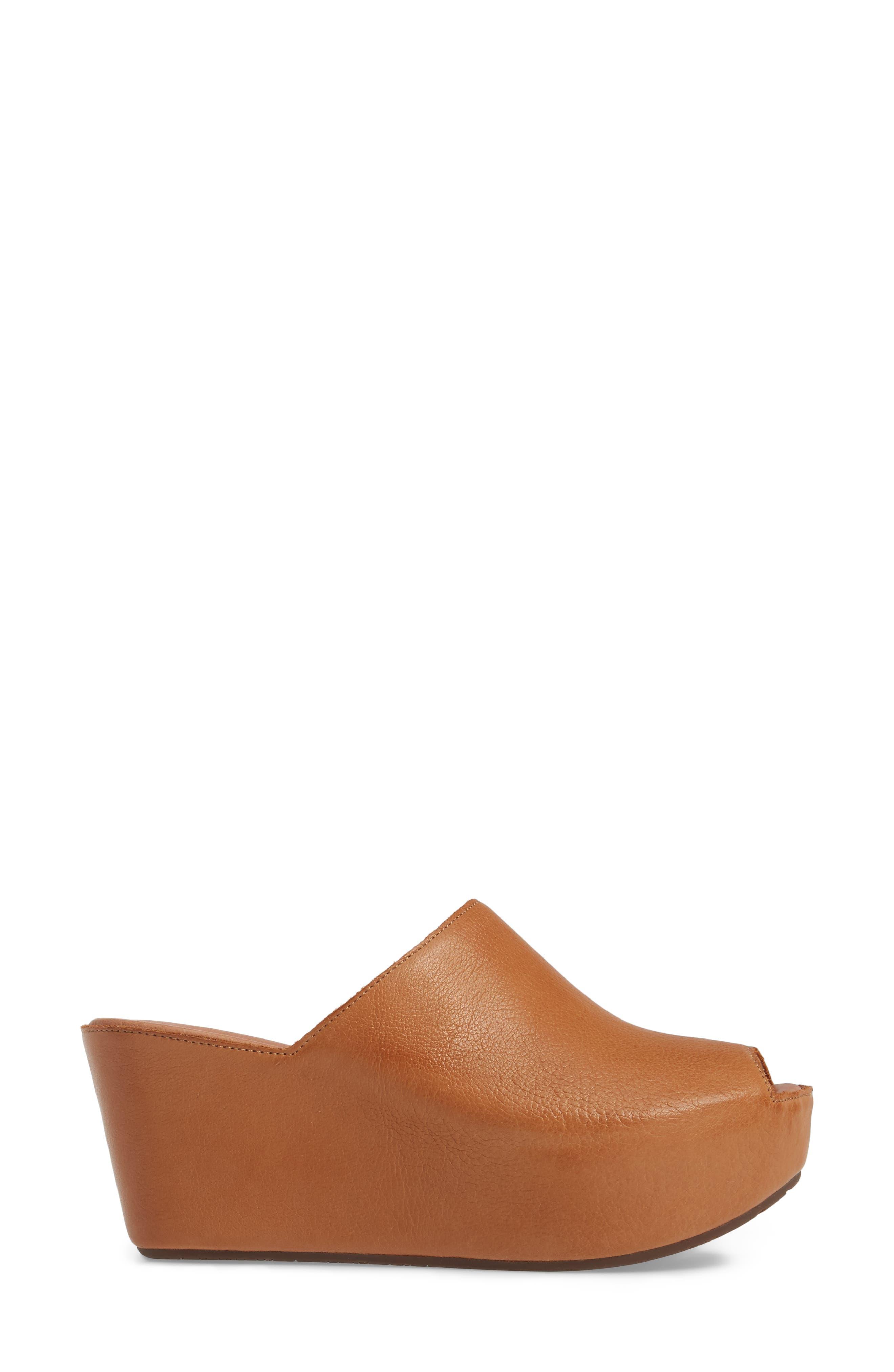 Willa Platform Wedge Mule,                             Alternate thumbnail 3, color,                             Camel Leather