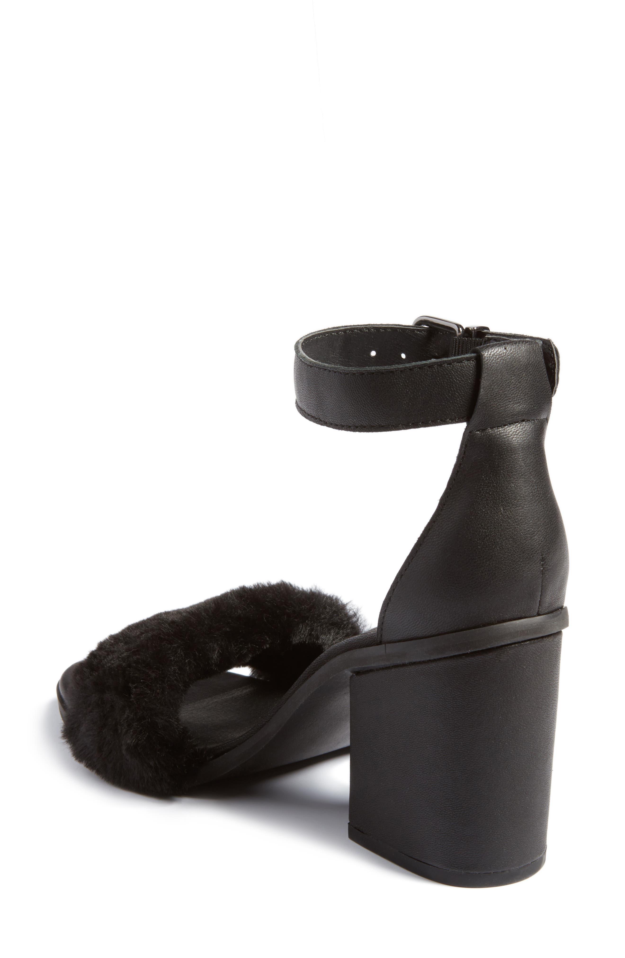 Faux Fur Ankle Strap Sandal,                             Alternate thumbnail 2, color,                             Black Faux Fur Leather