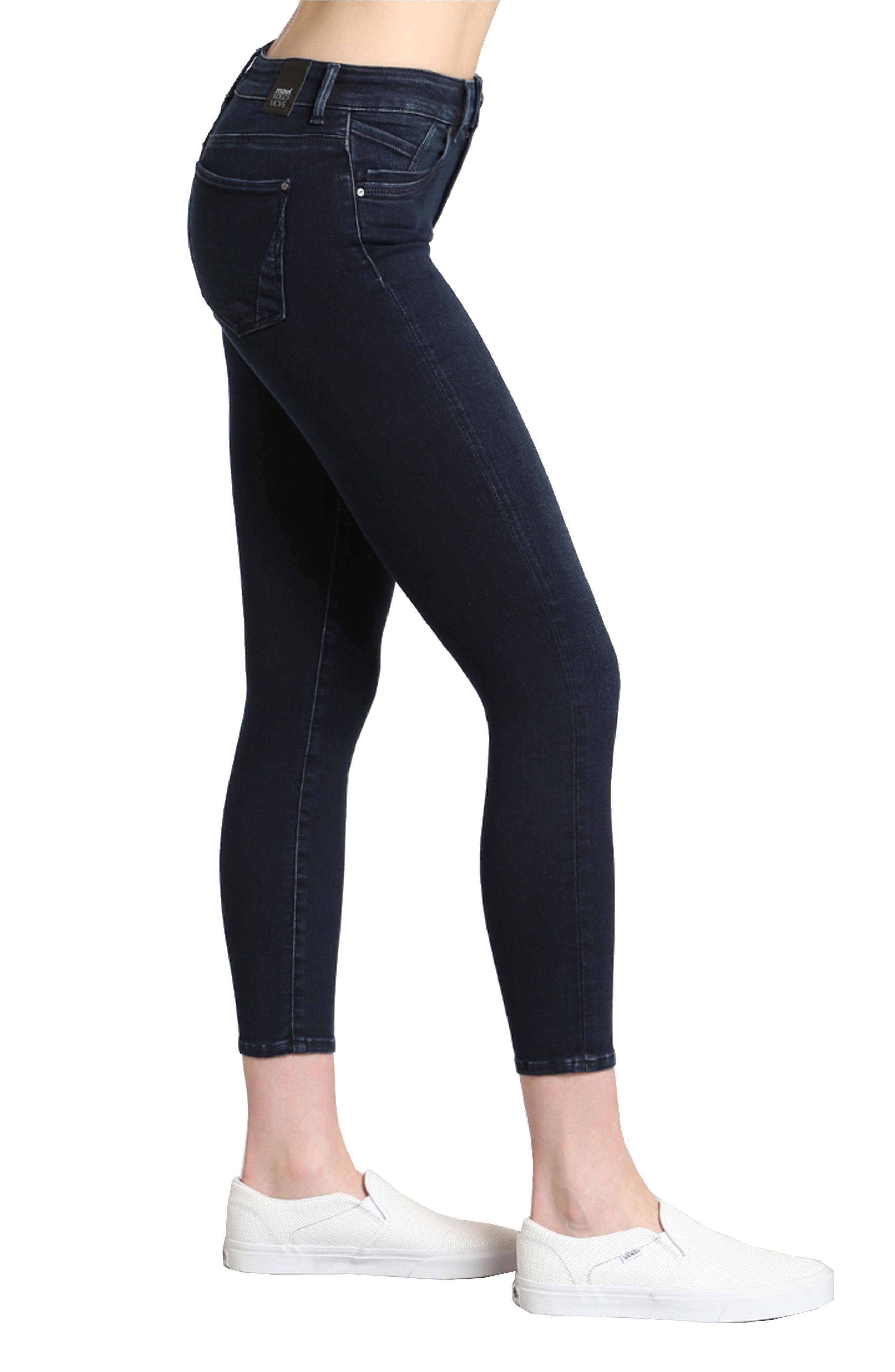 Tess Stretch Ankle Skinny Jeans,                             Alternate thumbnail 3, color,                             Ink Brushed Indigo Move