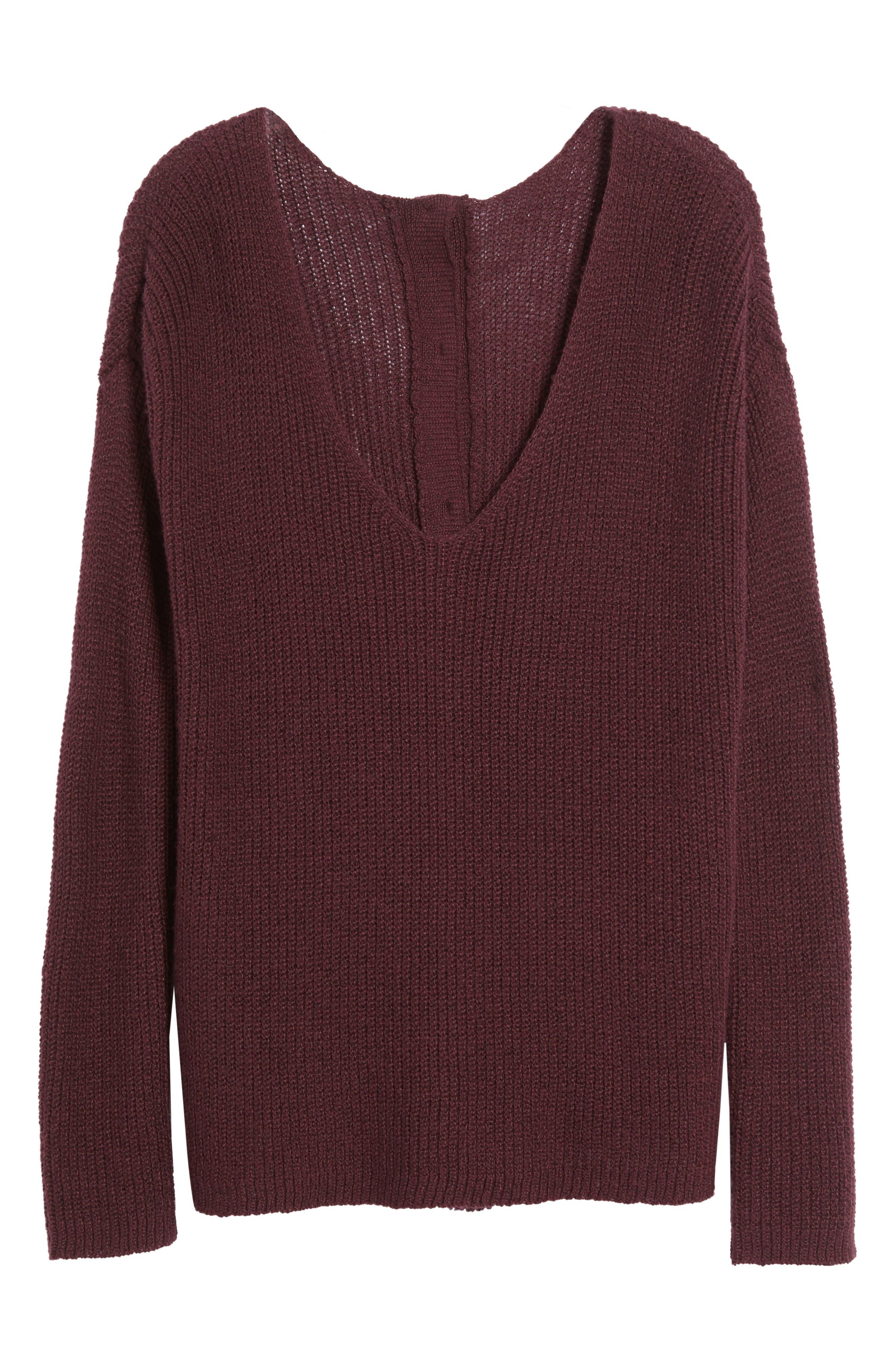 Alternate Image 6  - Hinge Button Back V-Neck Sweater