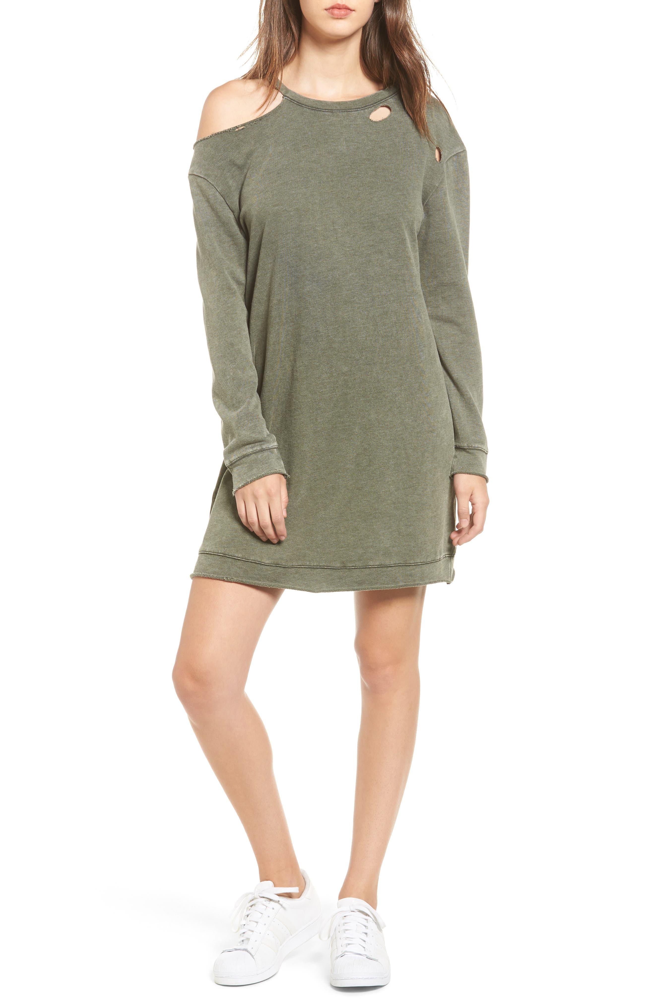 Ripped Sweatshirt Dress,                         Main,                         color, Olive Dark