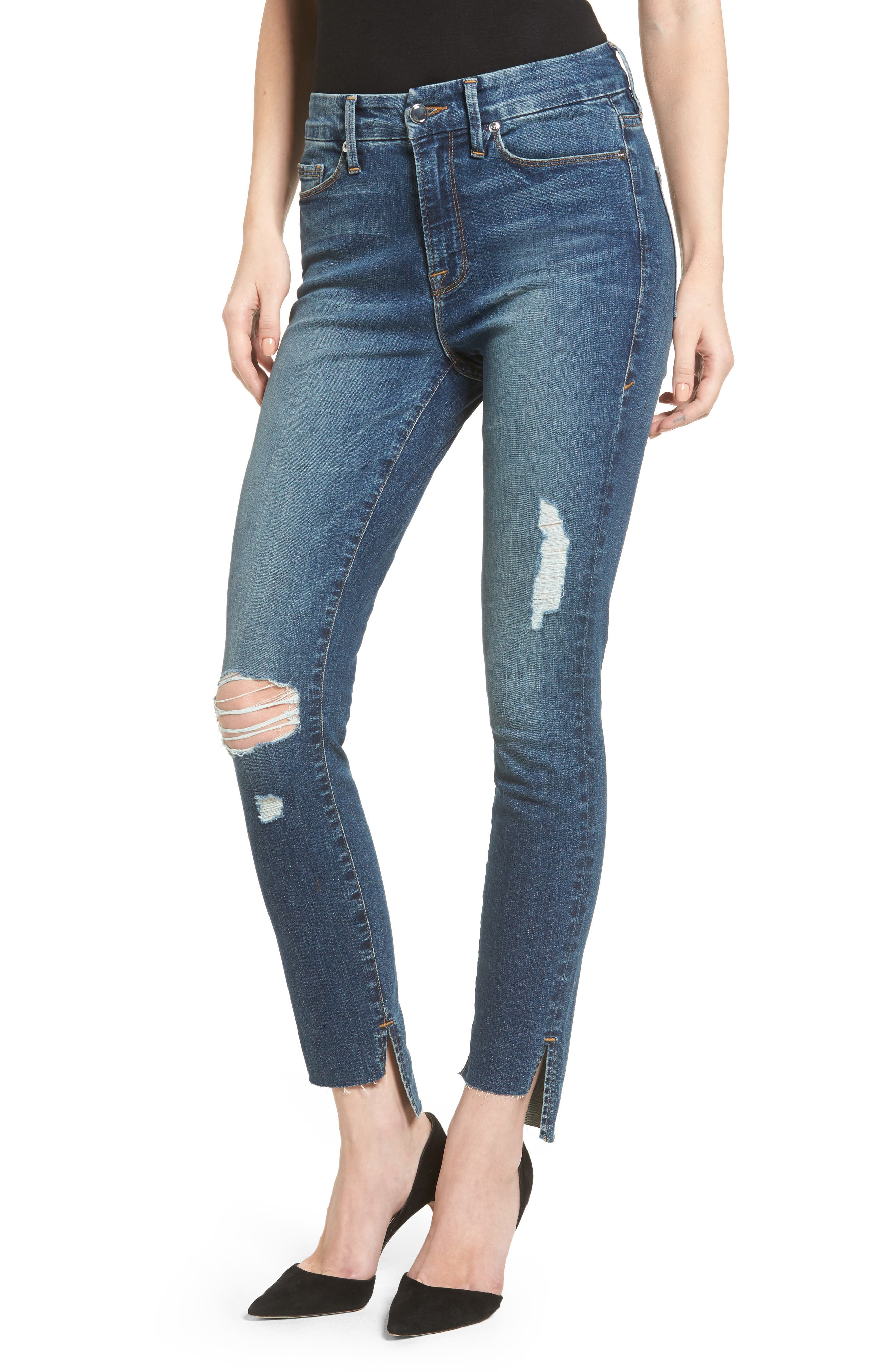 Main Image - Good American Good Waist Stagger Hem Jeans (Blue 074) (Extended Sizes)