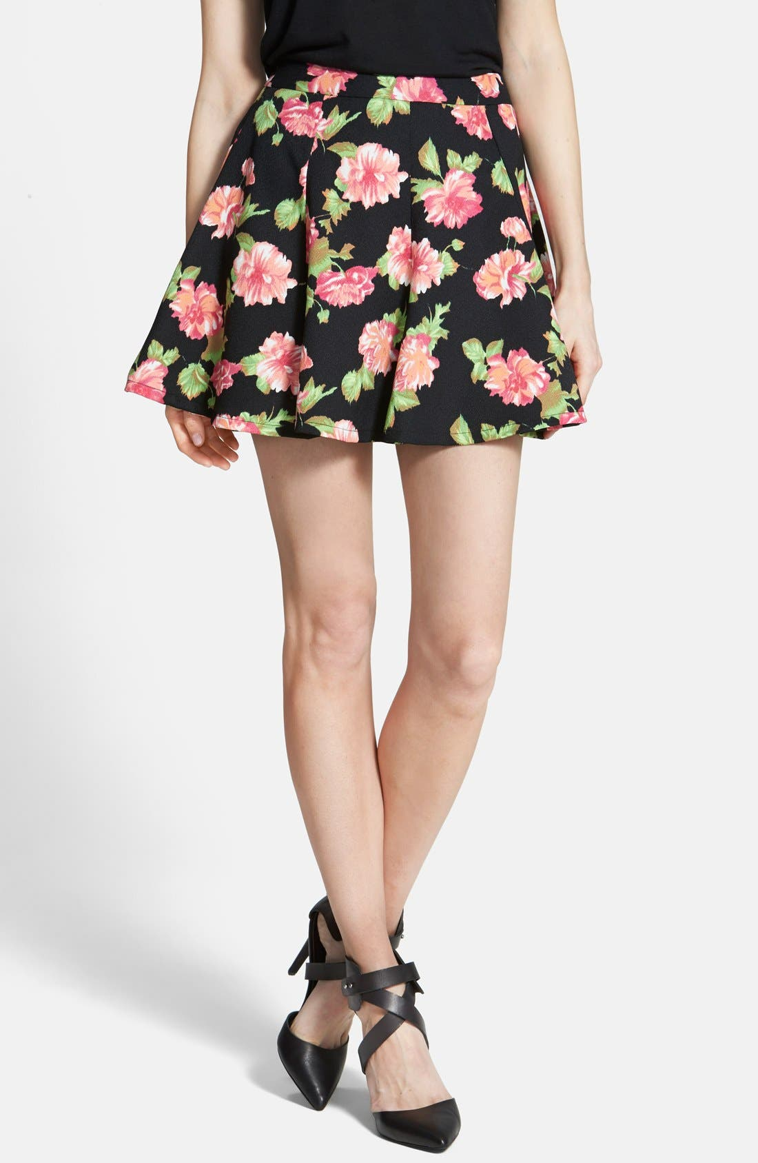 Floral Print Skater Skirt,                             Main thumbnail 1, color,                             Black/ Rose