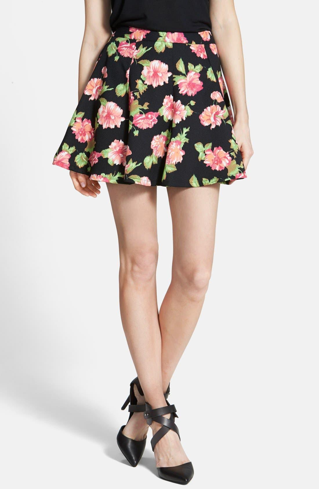 Floral Print Skater Skirt,                         Main,                         color, Black/ Rose