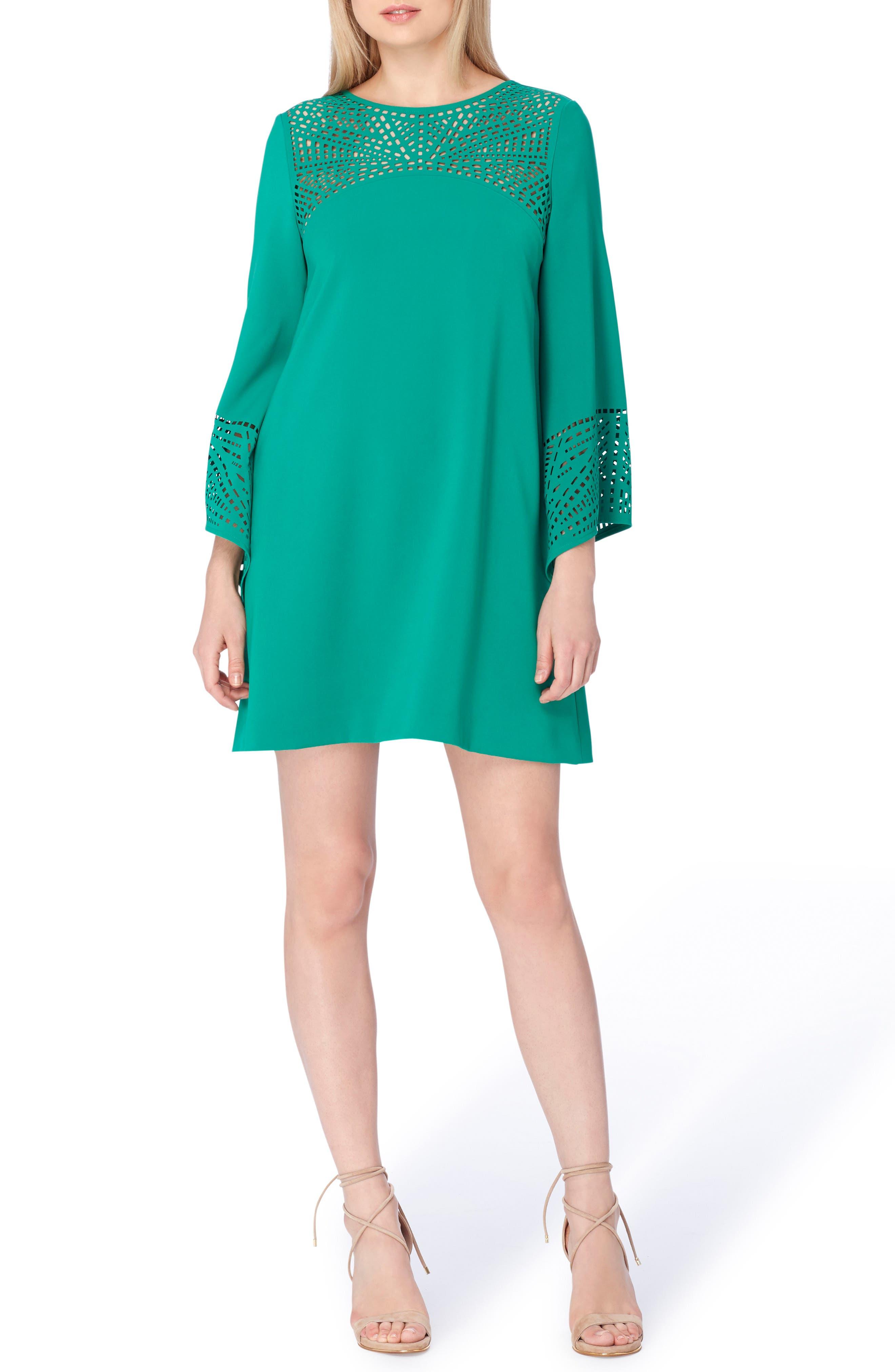 Long Sleeve Shift Dress,                         Main,                         color, Palm Green