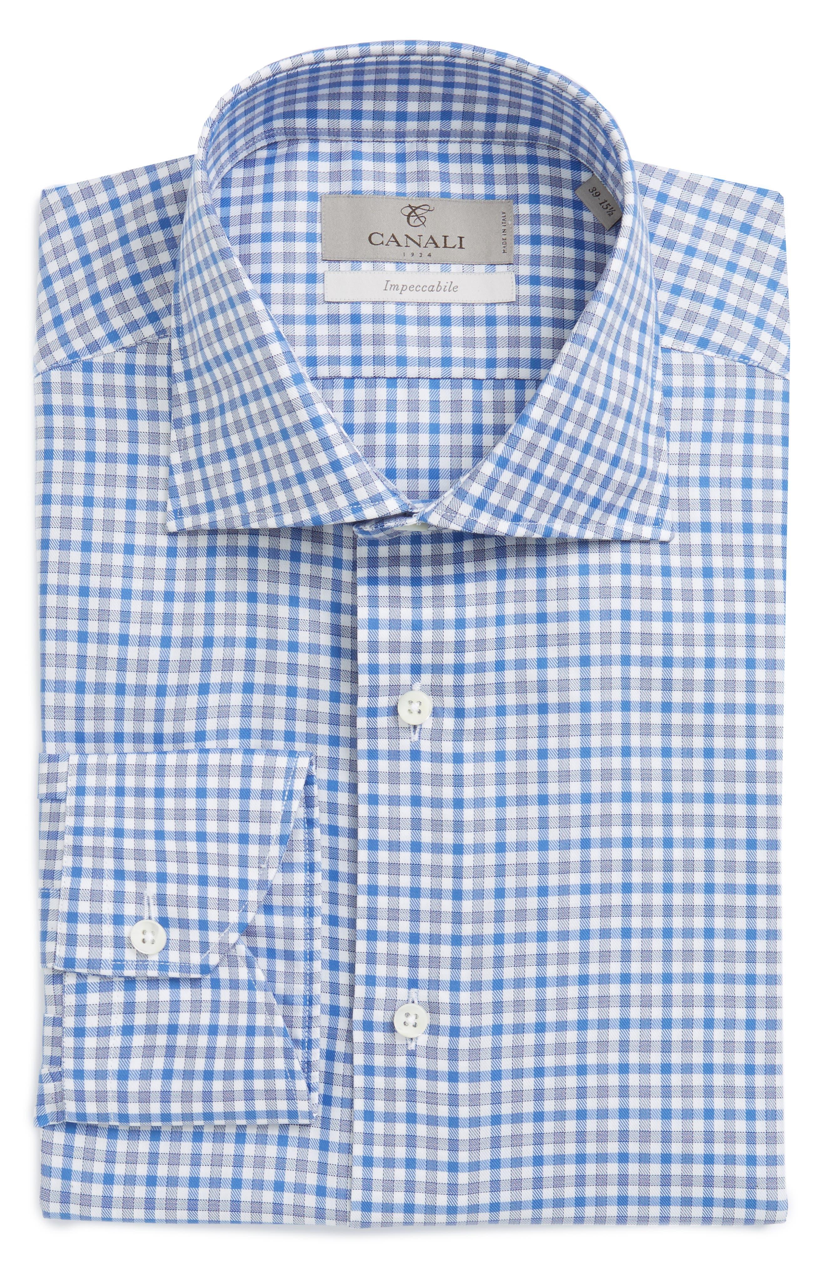 Main Image - Canali Regular Fit Check Dress Shirt