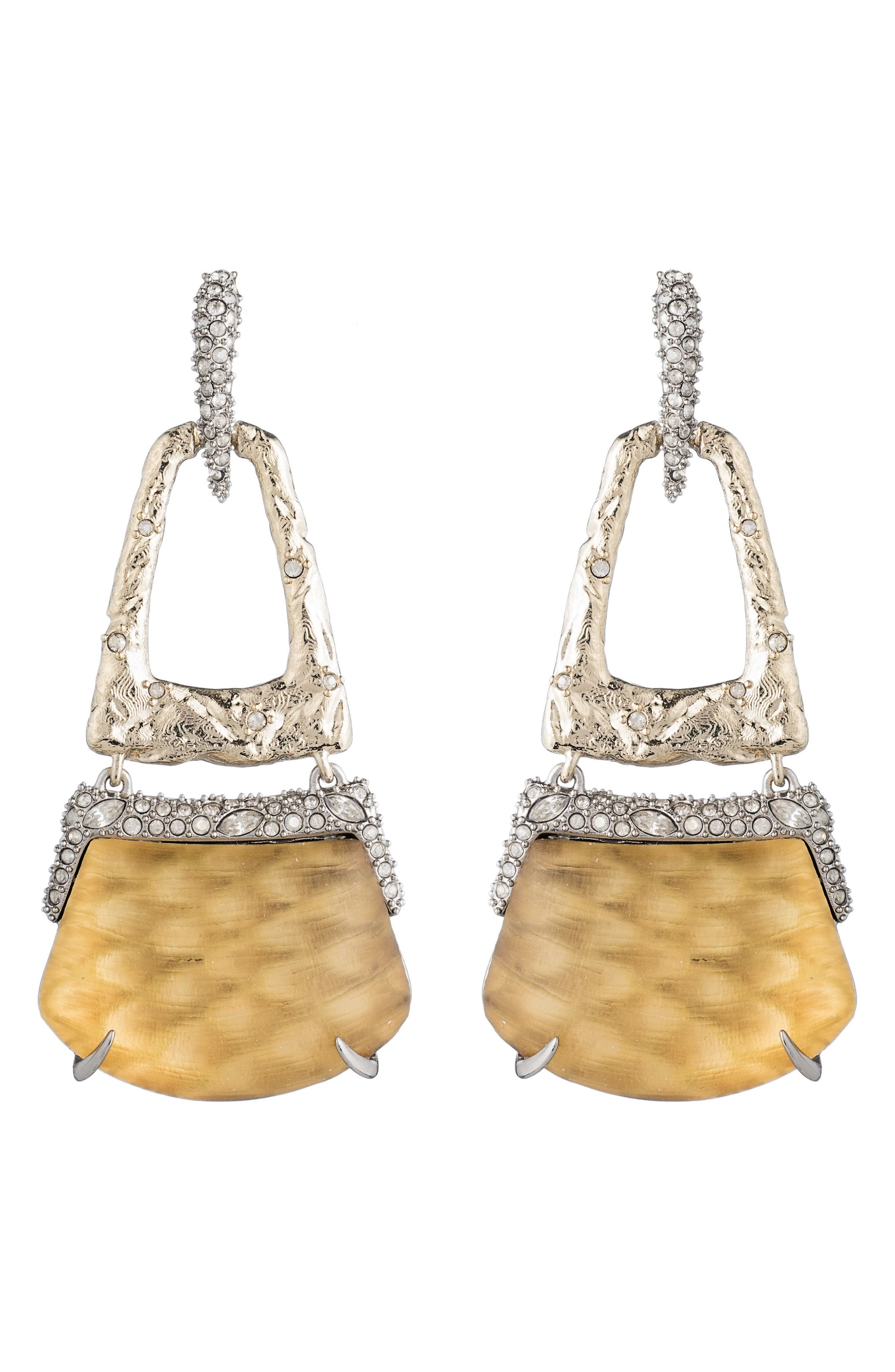 Lucite<sup>®</sup> Crystal Accent Drop Earrings,                             Alternate thumbnail 2, color,                             Gold Snake Print