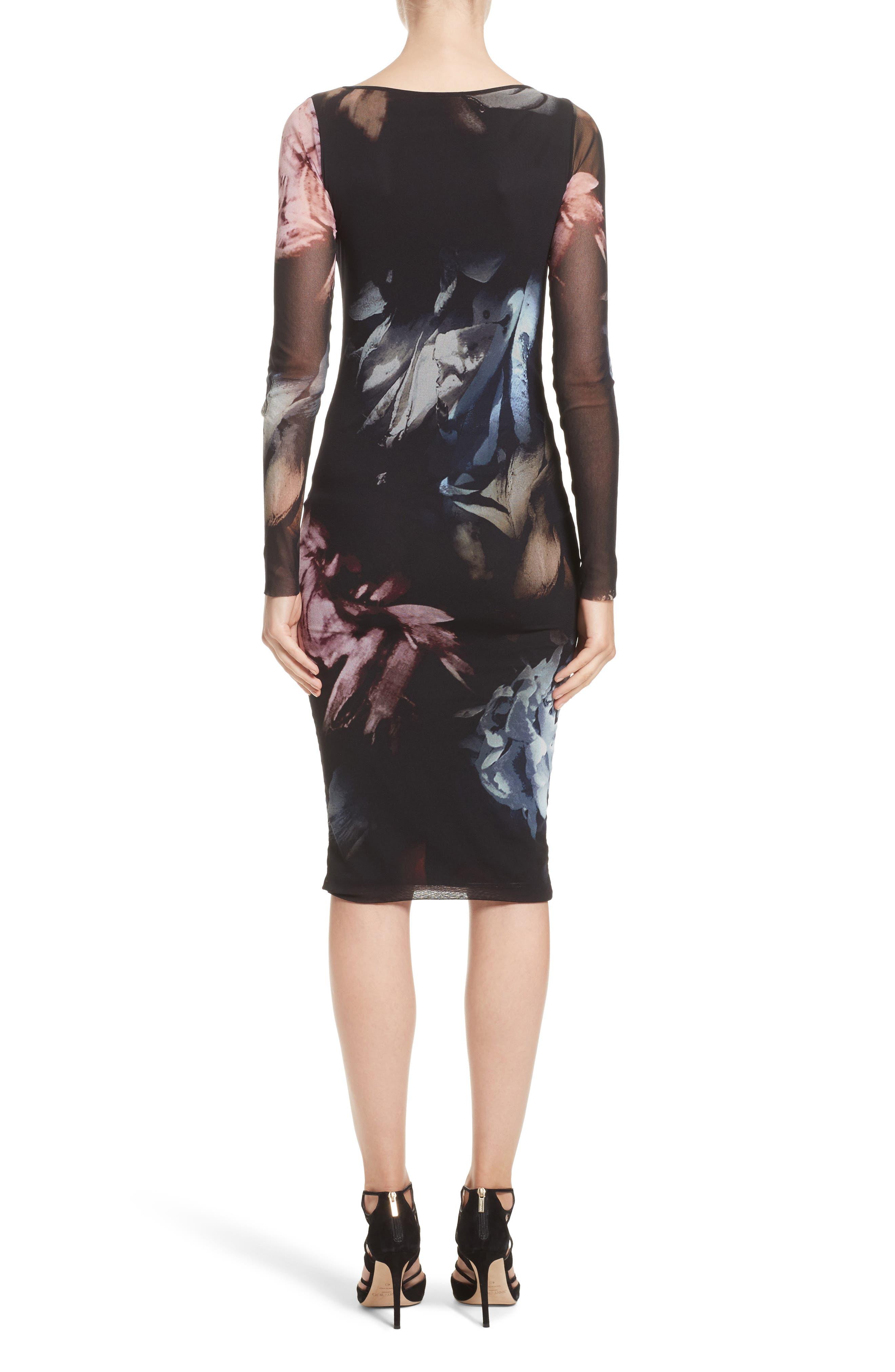 Slash Cutout Floral Print Tulle Dress,                             Alternate thumbnail 2, color,                             Graphite