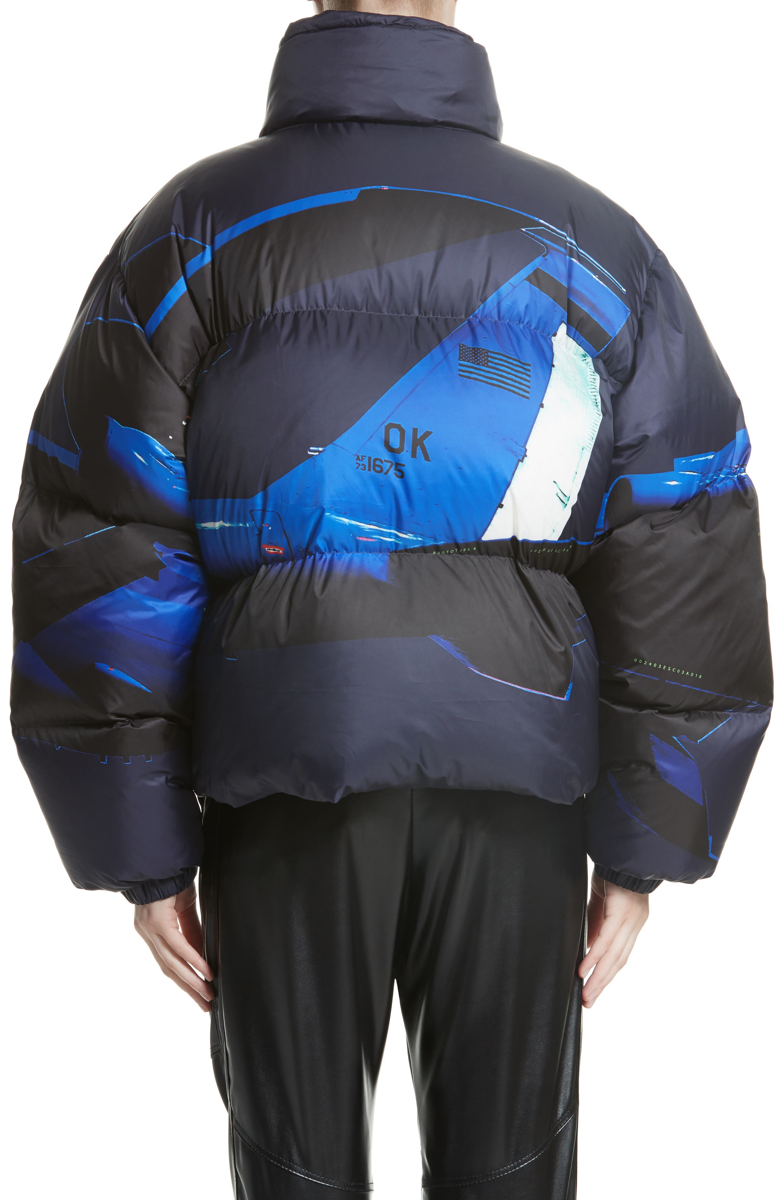 Printed Down Bomber Jacket,                             Alternate thumbnail 3, color,                             Blue