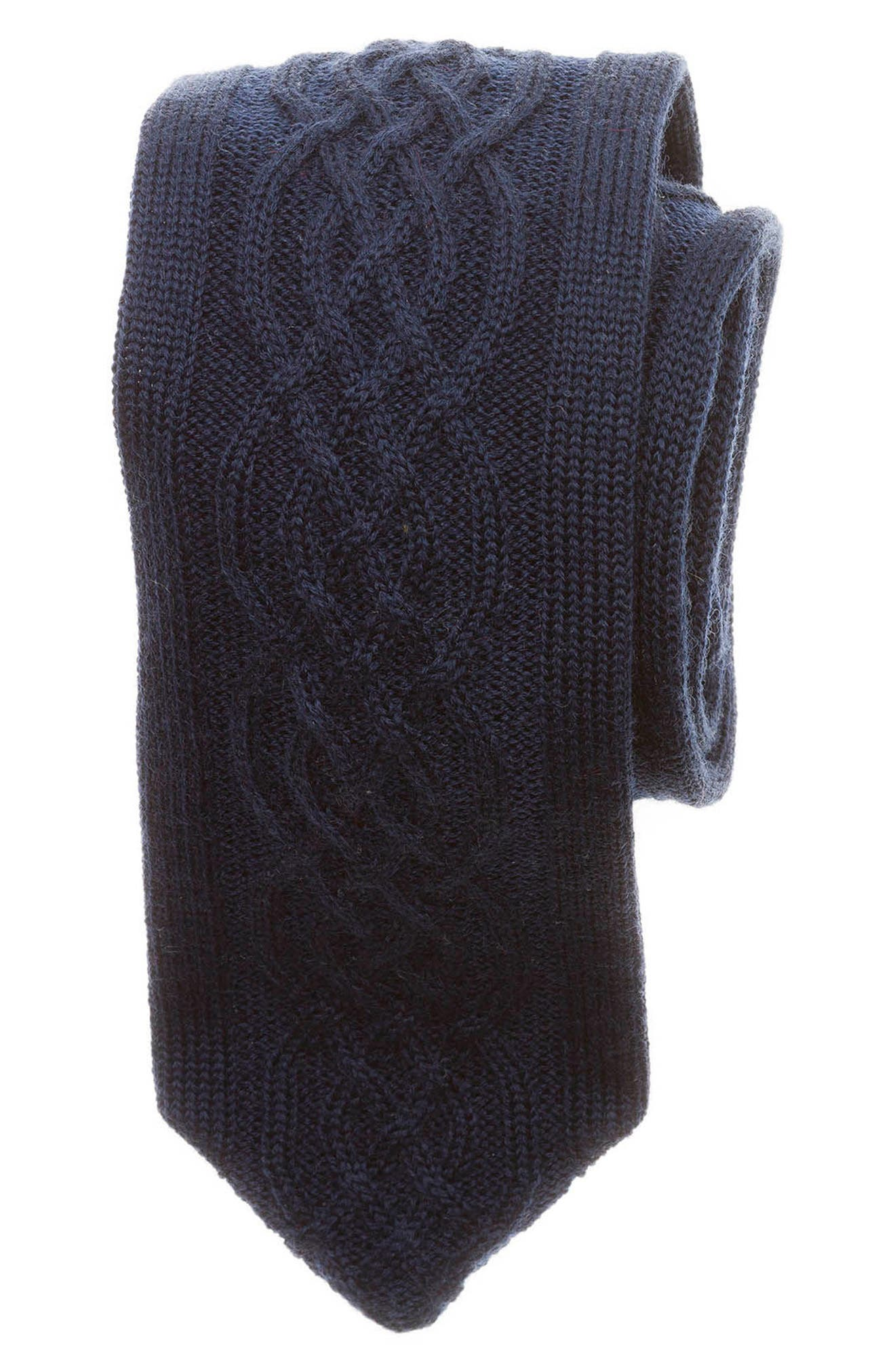 Cable Knit Wool Tie,                         Main,                         color, Navy