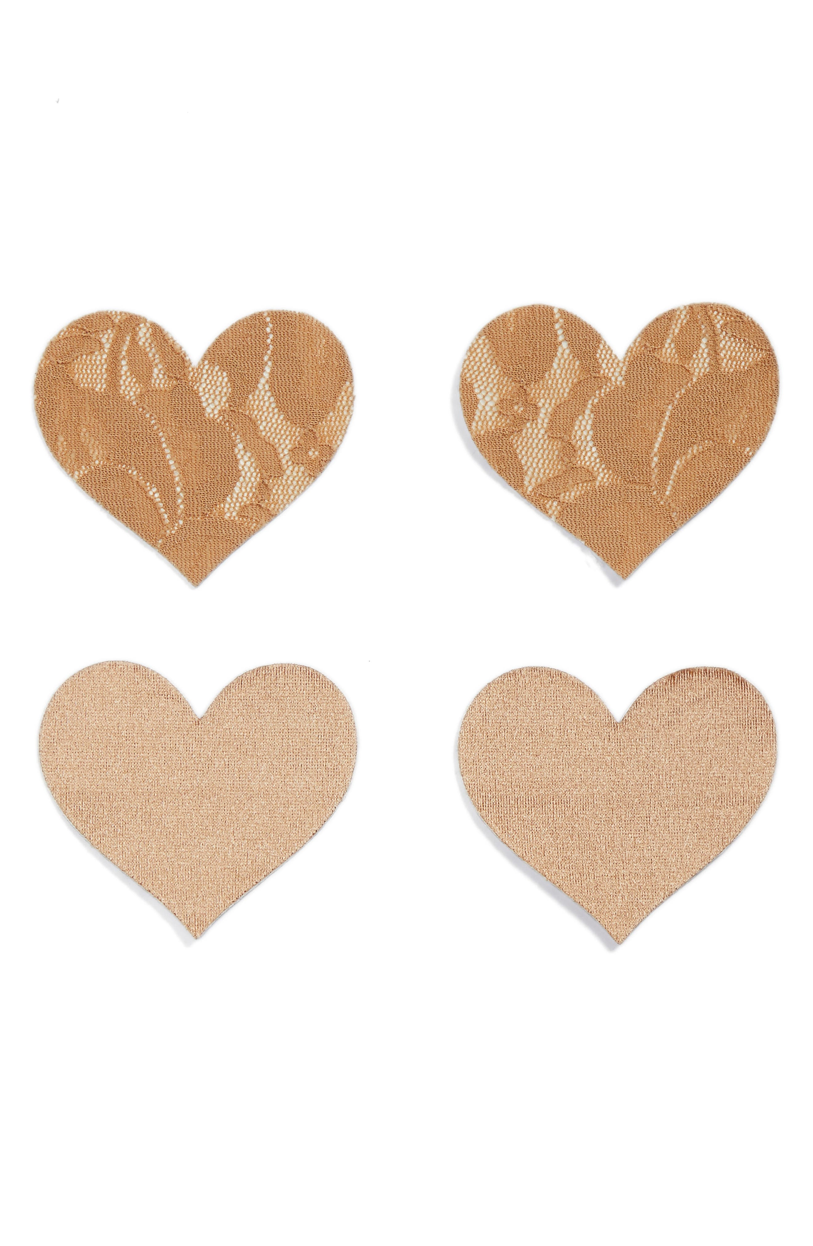 Nippies by Bristols Six Heart Nipple Covers,                         Main,                         color, Carmel
