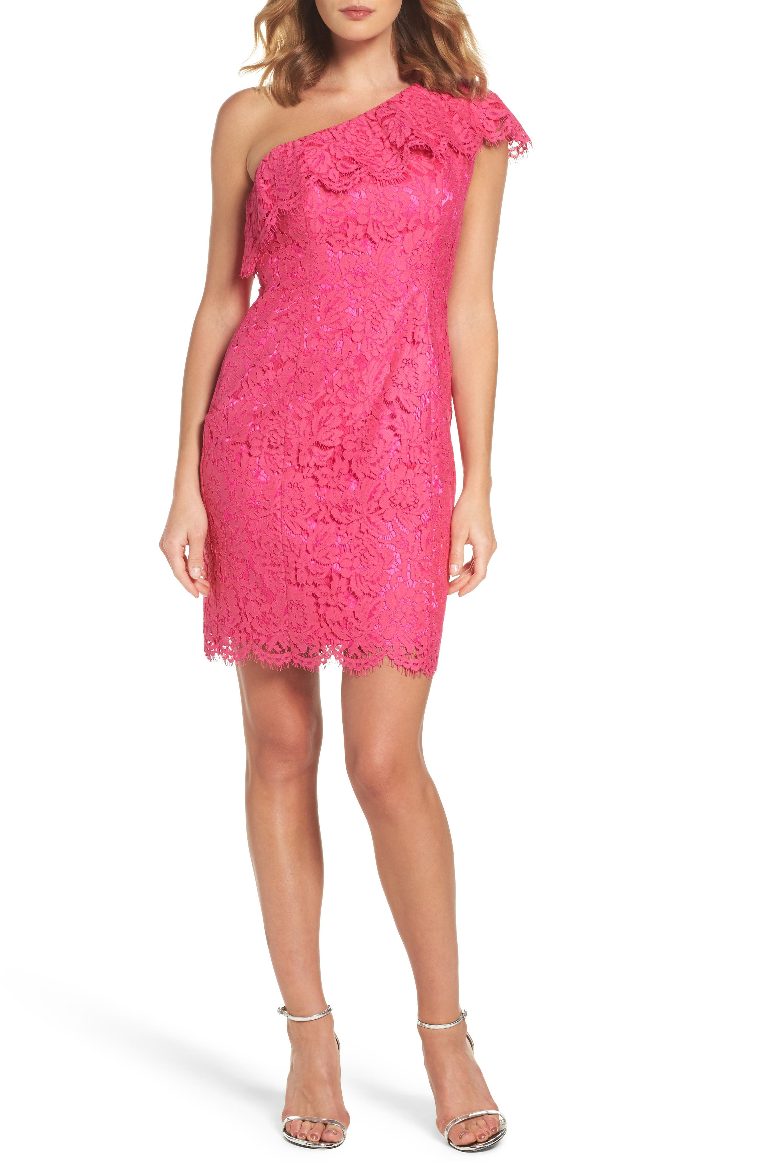 Ruffle Lace One-Shoulder Sheath Dress,                         Main,                         color, Pink