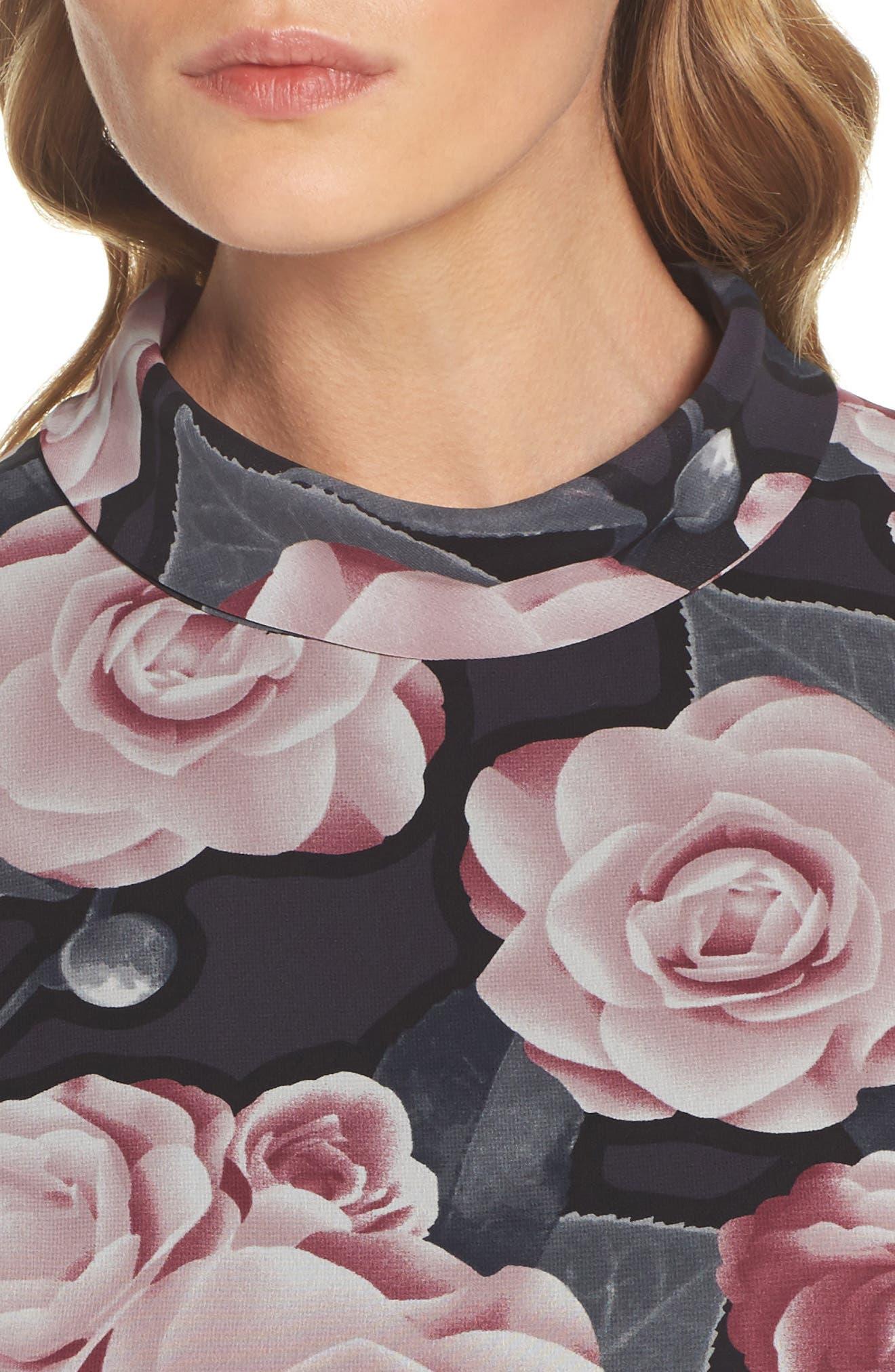 Tossed Rosewood Midi Dress,                             Alternate thumbnail 4, color,                             Rosewood Grey