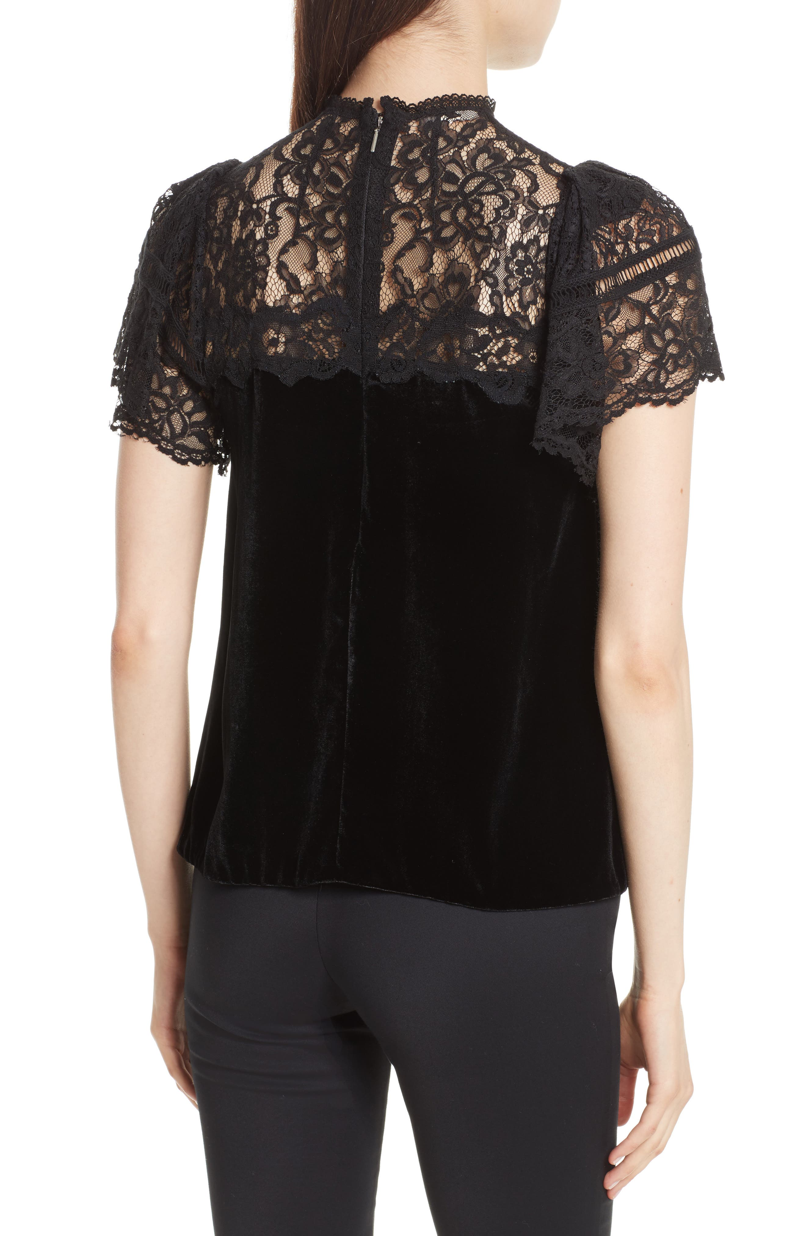 Short Sleeve Velvet & Lace Top,                             Alternate thumbnail 2, color,                             Black