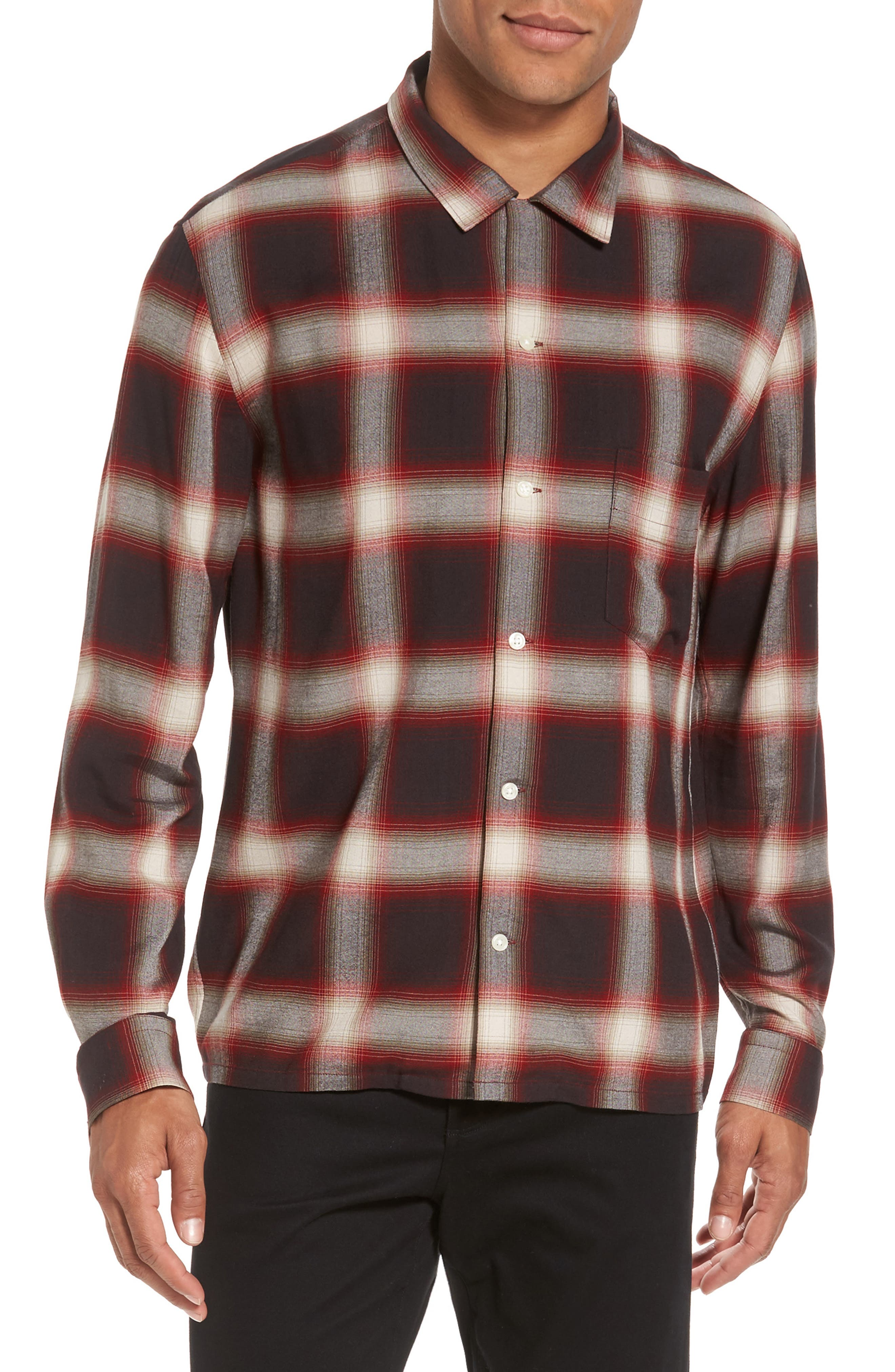 Ombré Check Sport Shirt,                             Main thumbnail 1, color,                             Red