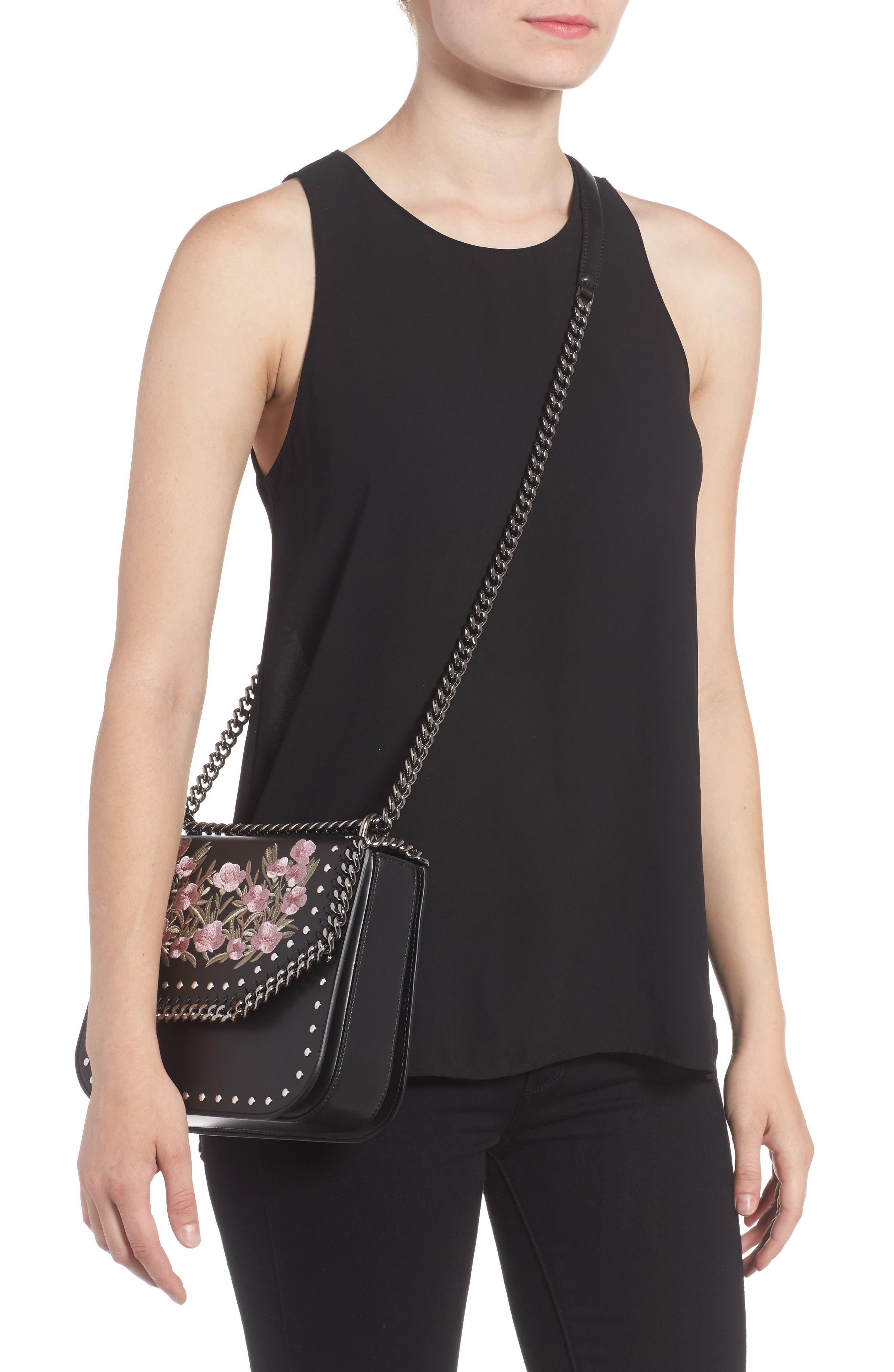Medium Falabella Box Floral Shoulder Bag,                             Alternate thumbnail 2, color,                             Black
