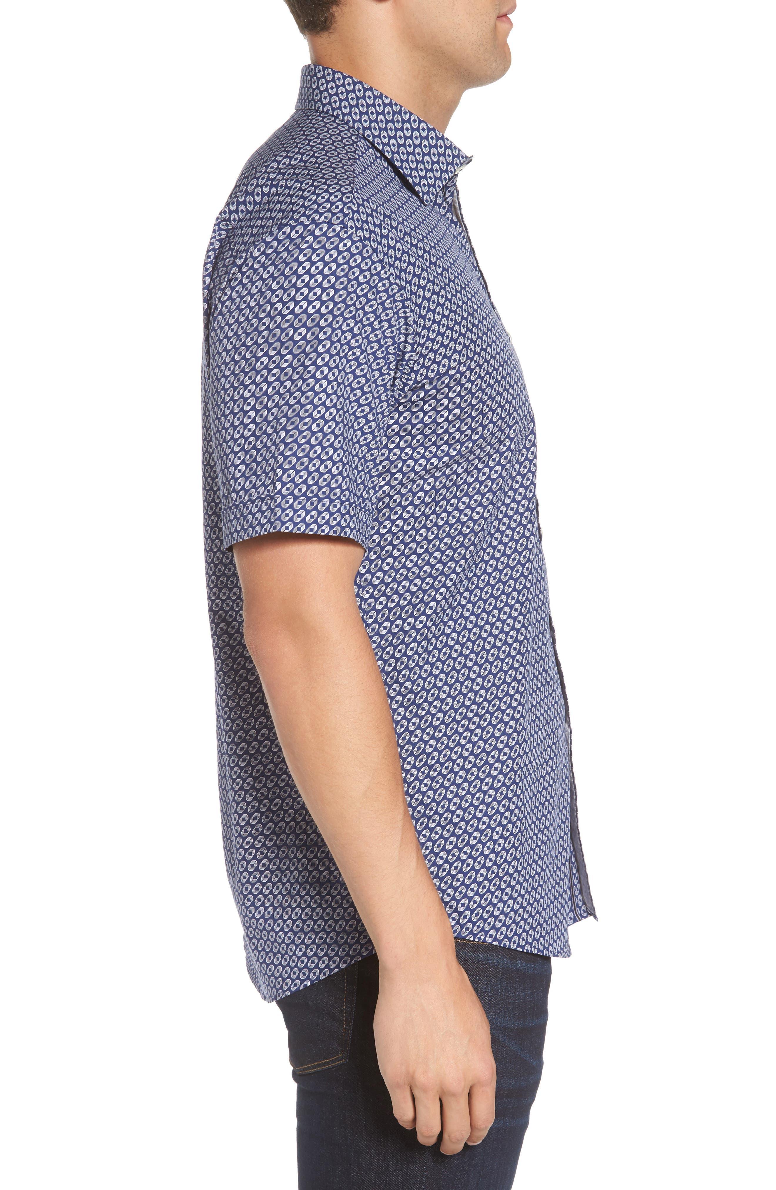 Alternate Image 3  - Bugatchi Shaped Fit Geo Print Sport Shirt