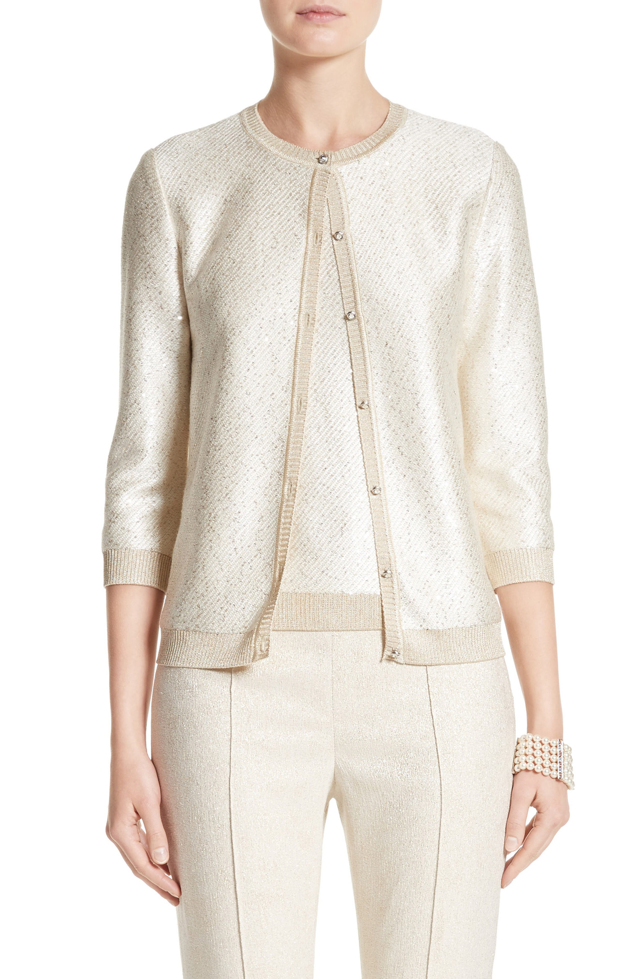 St. John Collection Vivaan Sequin Knit Cardigan