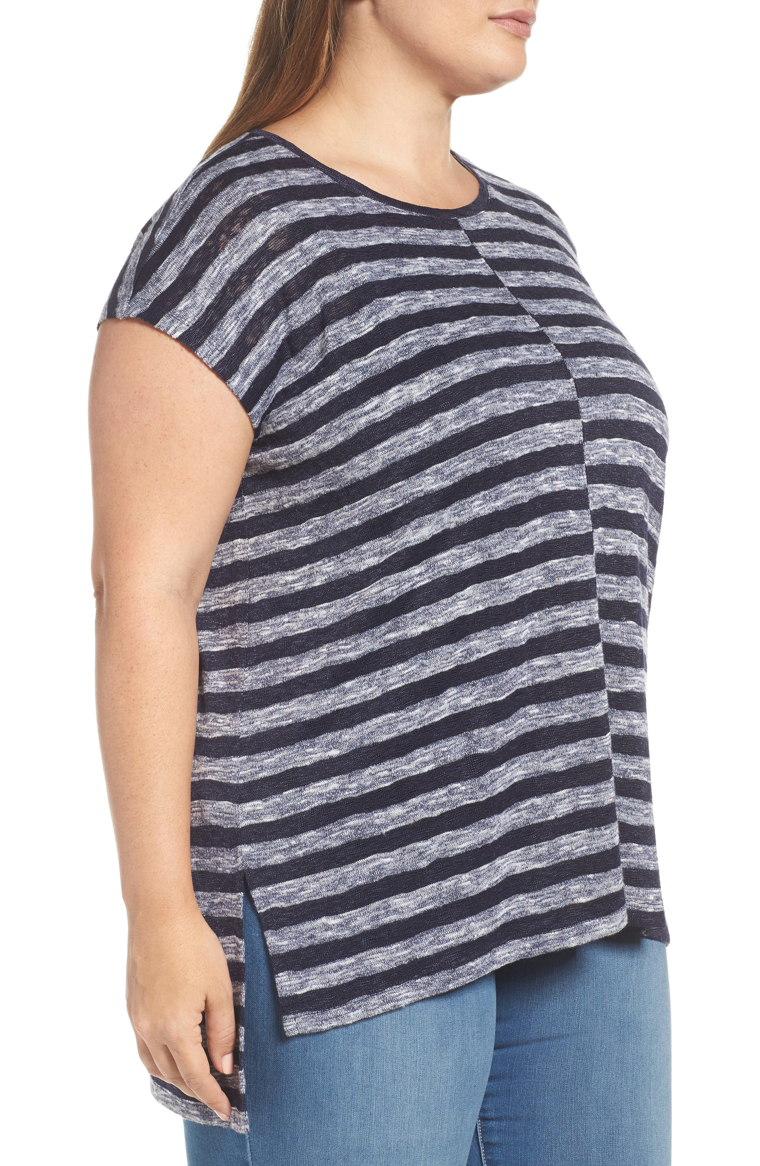 Alternate Image 3  - Two by Vince Camuto Uneven Stripe High/Low Tee (Plus Size)