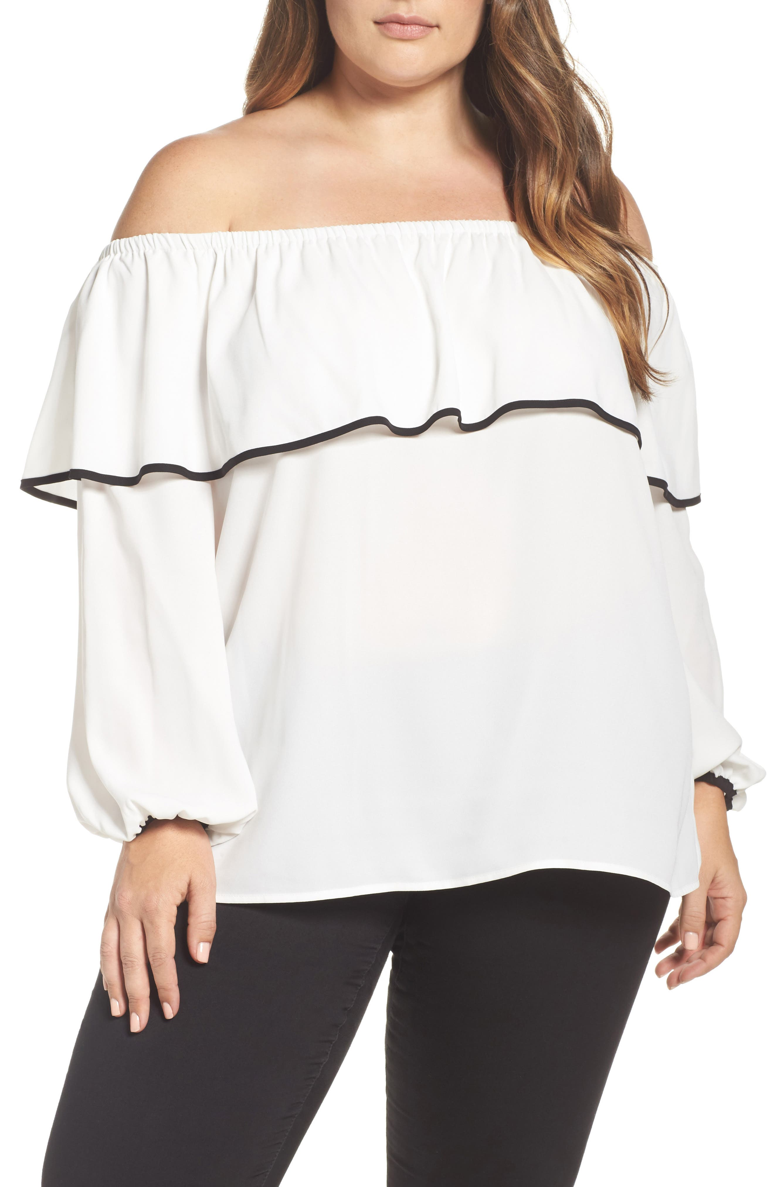 Vince Camuto Off the Shoulder Ruffle Blouse (Plus Size)