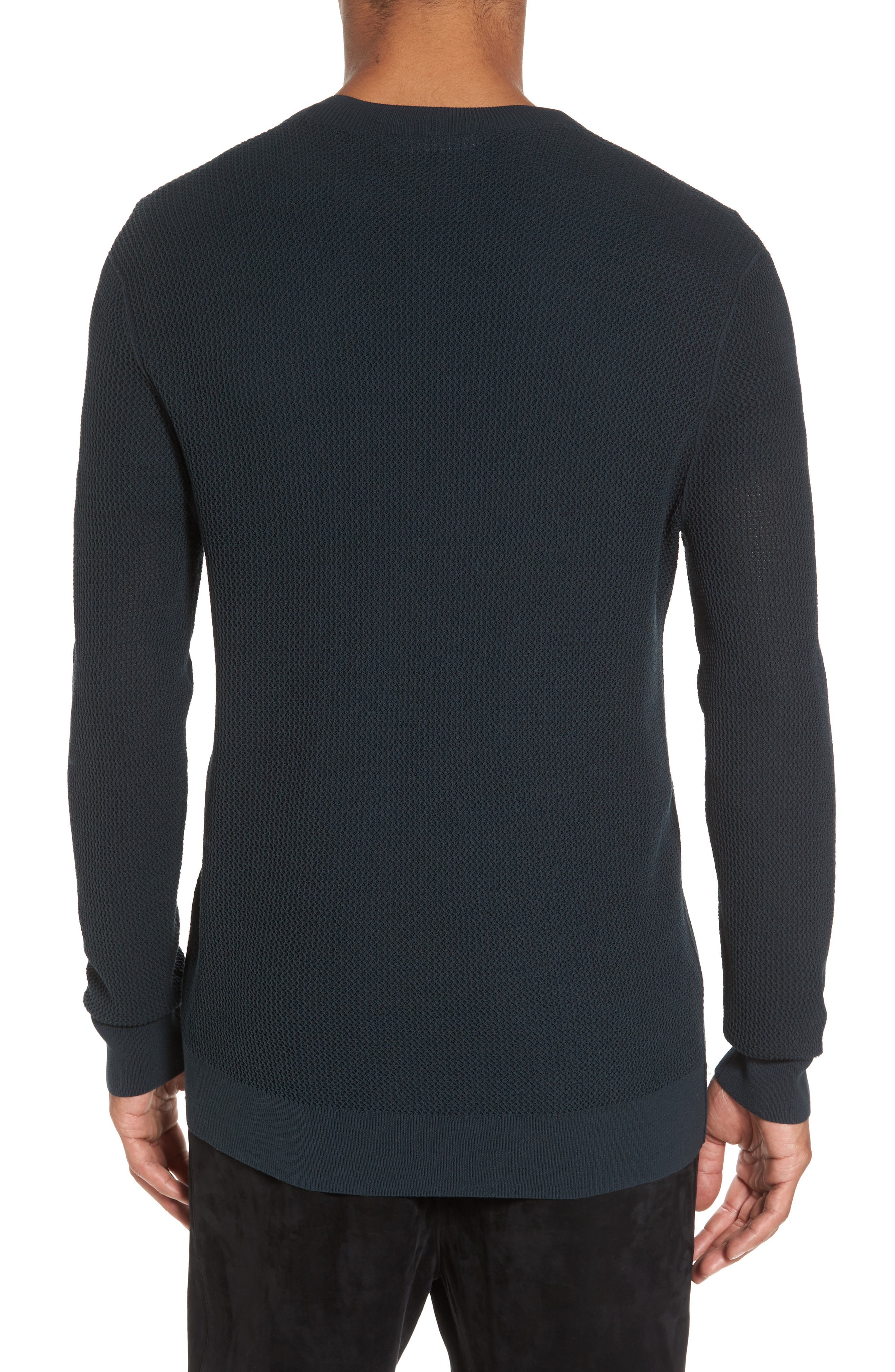 Mesh Crewneck Sweater,                             Alternate thumbnail 2, color,                             Midnight Forest