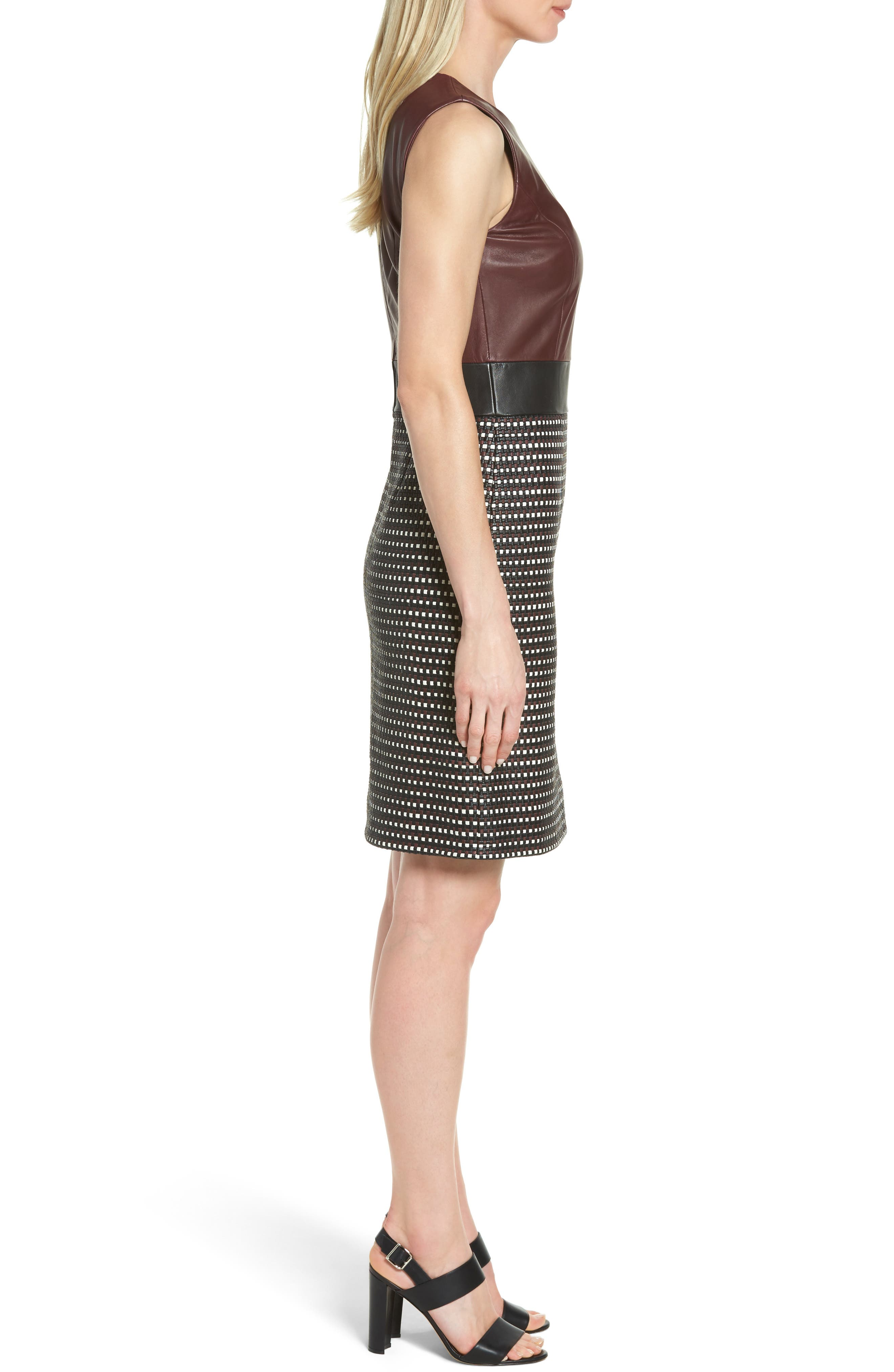 Syrina Leather Sheath Dress,                             Alternate thumbnail 3, color,                             Black/ Pomegranate