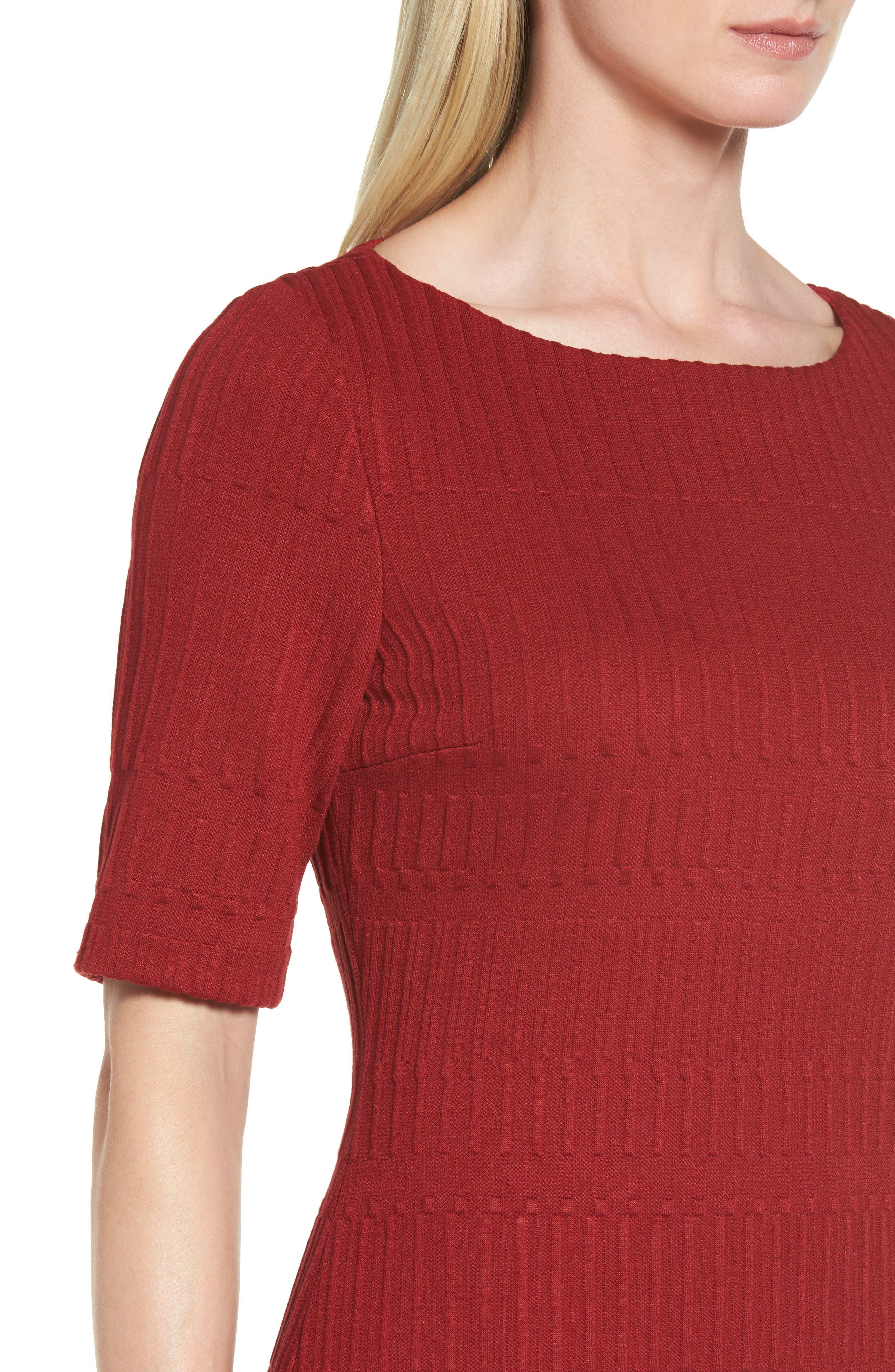 Hadea Knit Sheath Dress,                             Alternate thumbnail 4, color,                             Pomegranate