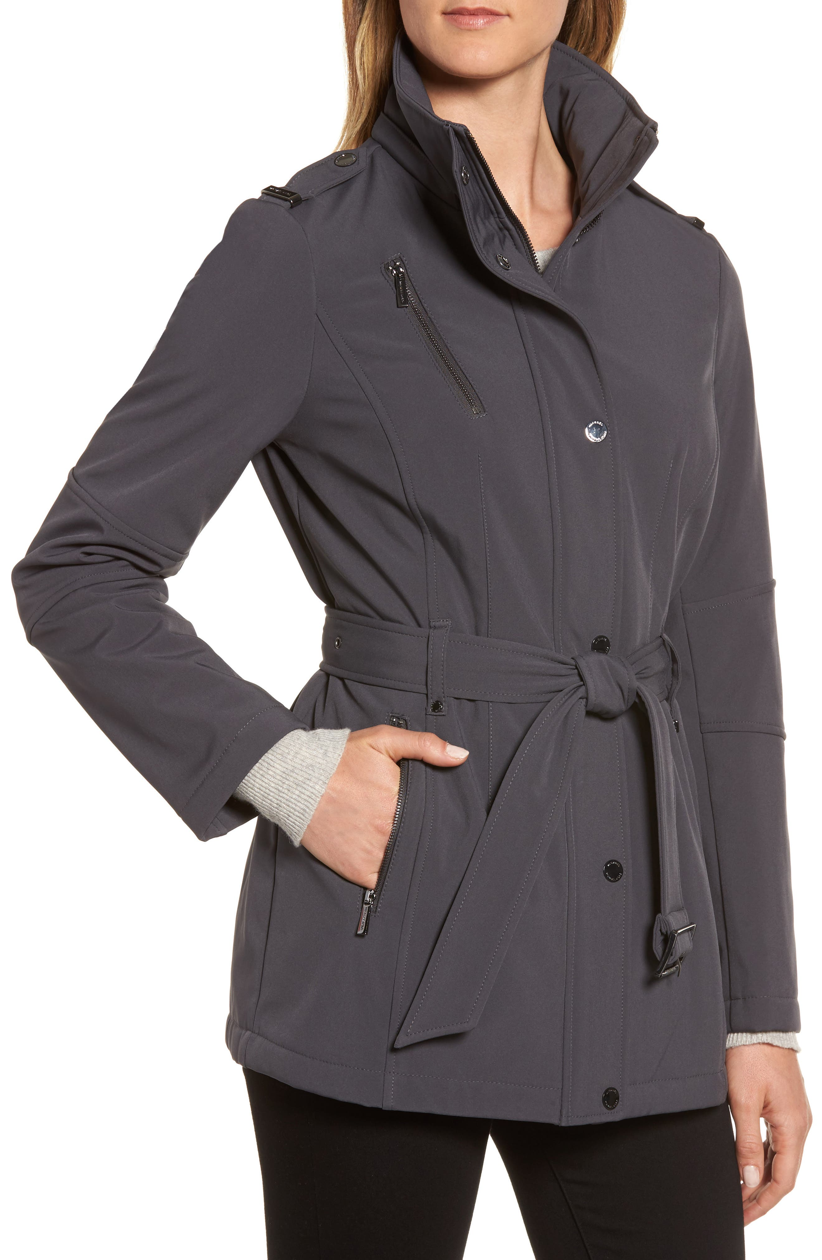 Waterproof Belted Jacket with Detachable Hood,                             Alternate thumbnail 4, color,                             Charcoal