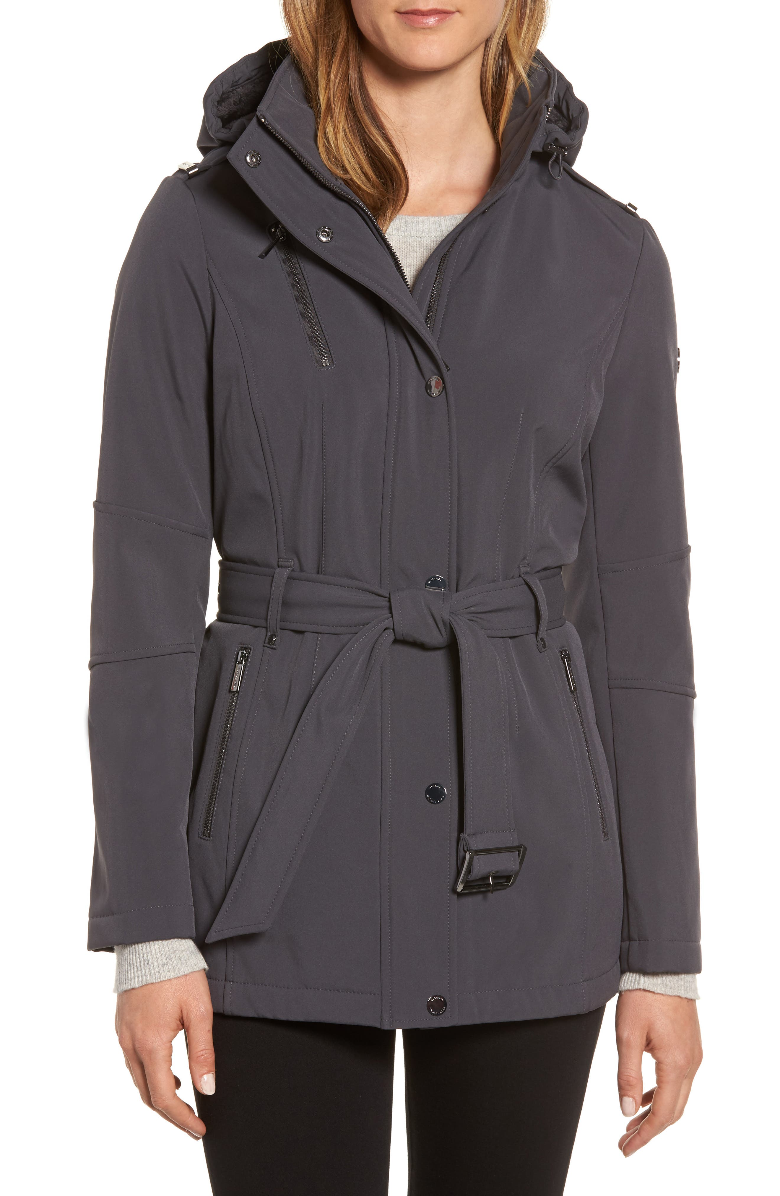 Waterproof Belted Jacket with Detachable Hood,                         Main,                         color, Charcoal