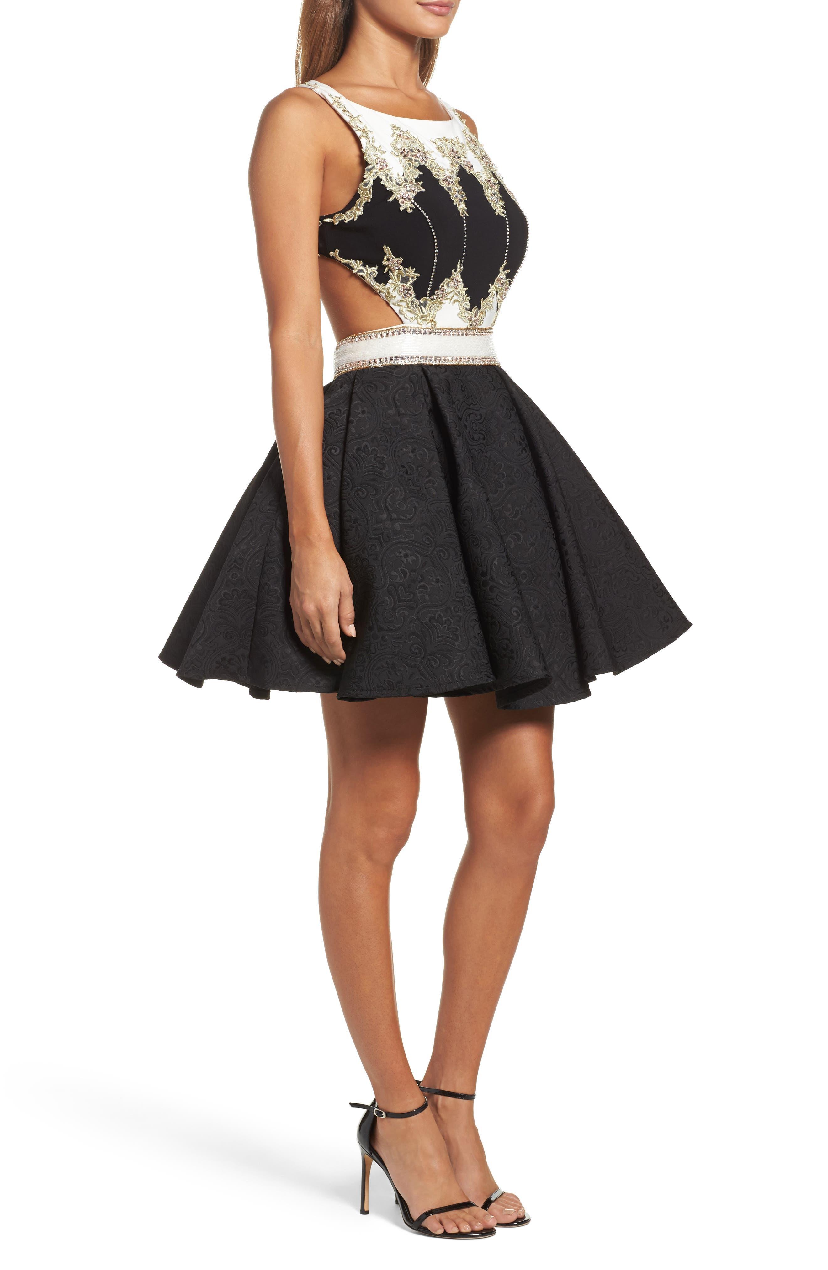 Embellished Cutout Back Cocktail Dress,                             Alternate thumbnail 3, color,                             Black Ivory