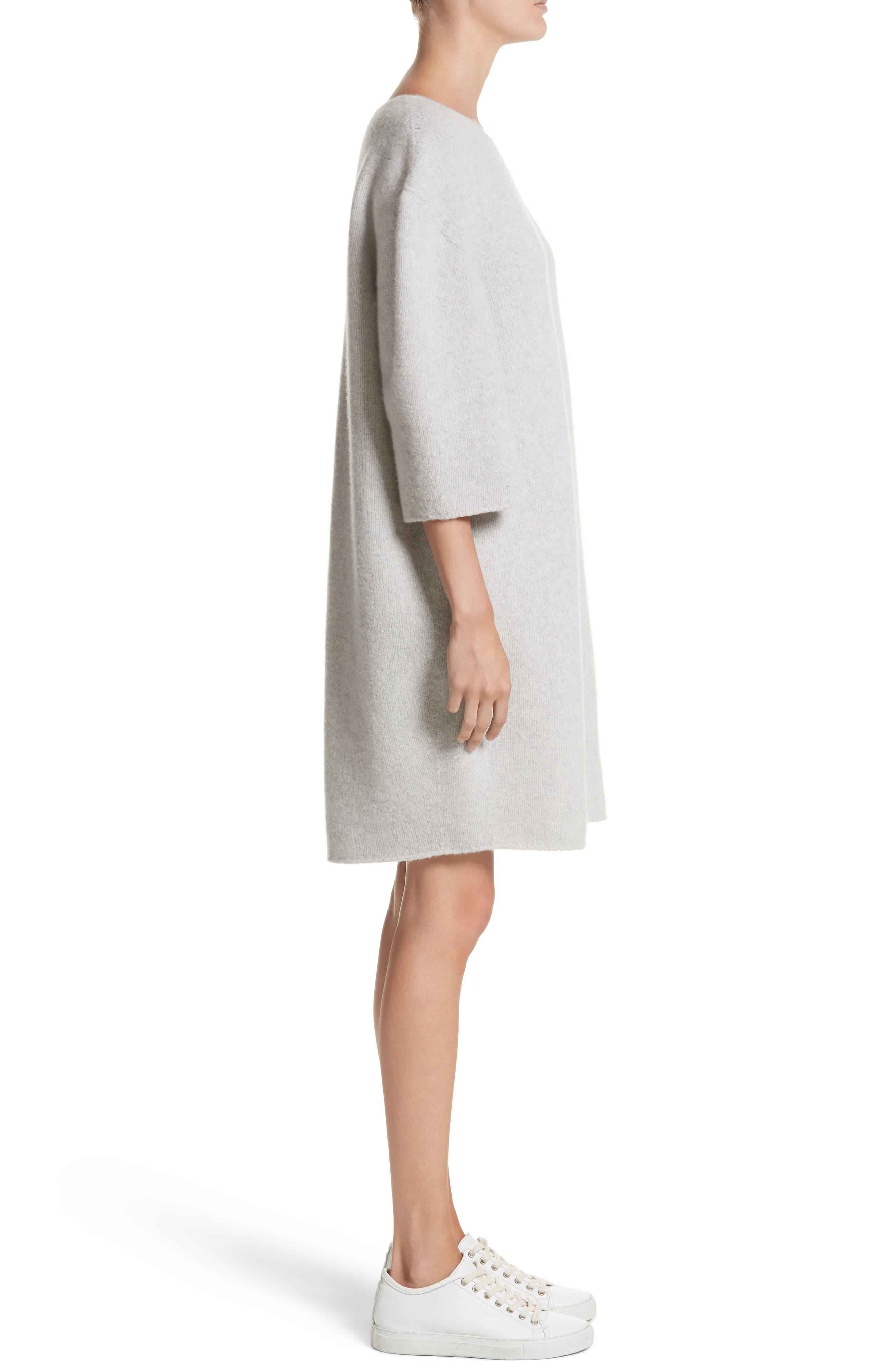 Baseball Wool Sweater Dress,                             Alternate thumbnail 3, color,                             Silver Melange