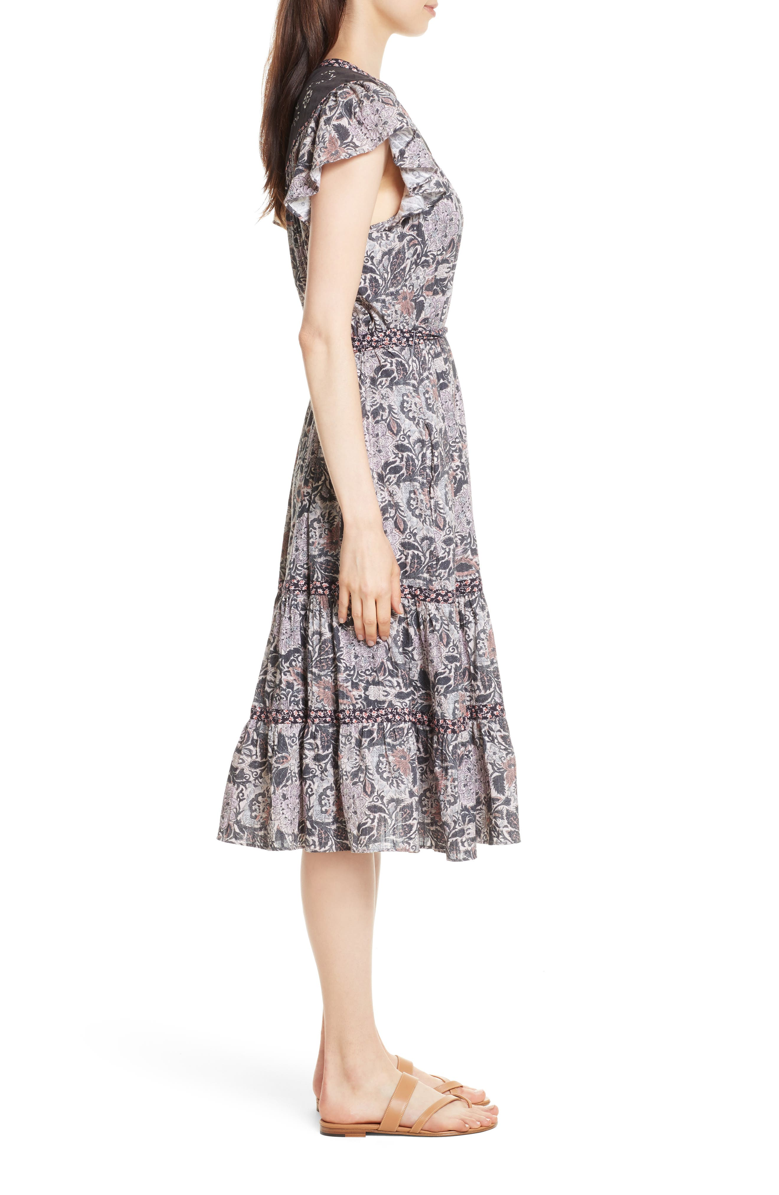 Indochine Embroidered Floral Dress,                             Alternate thumbnail 3, color,                             Washed Black Combo