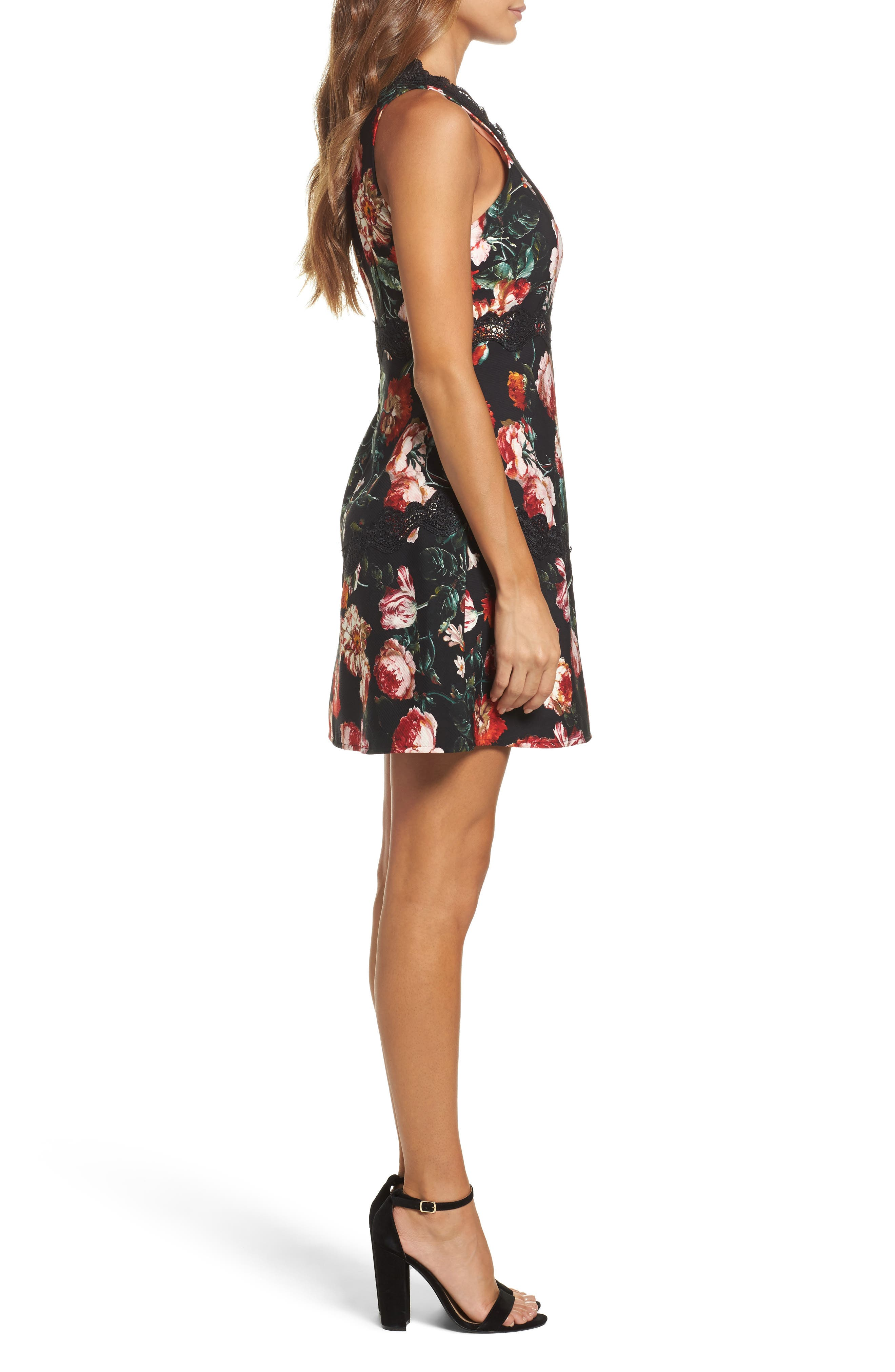 Lace Fit & Flare Dress,                             Alternate thumbnail 3, color,                             Black Foxie Floral