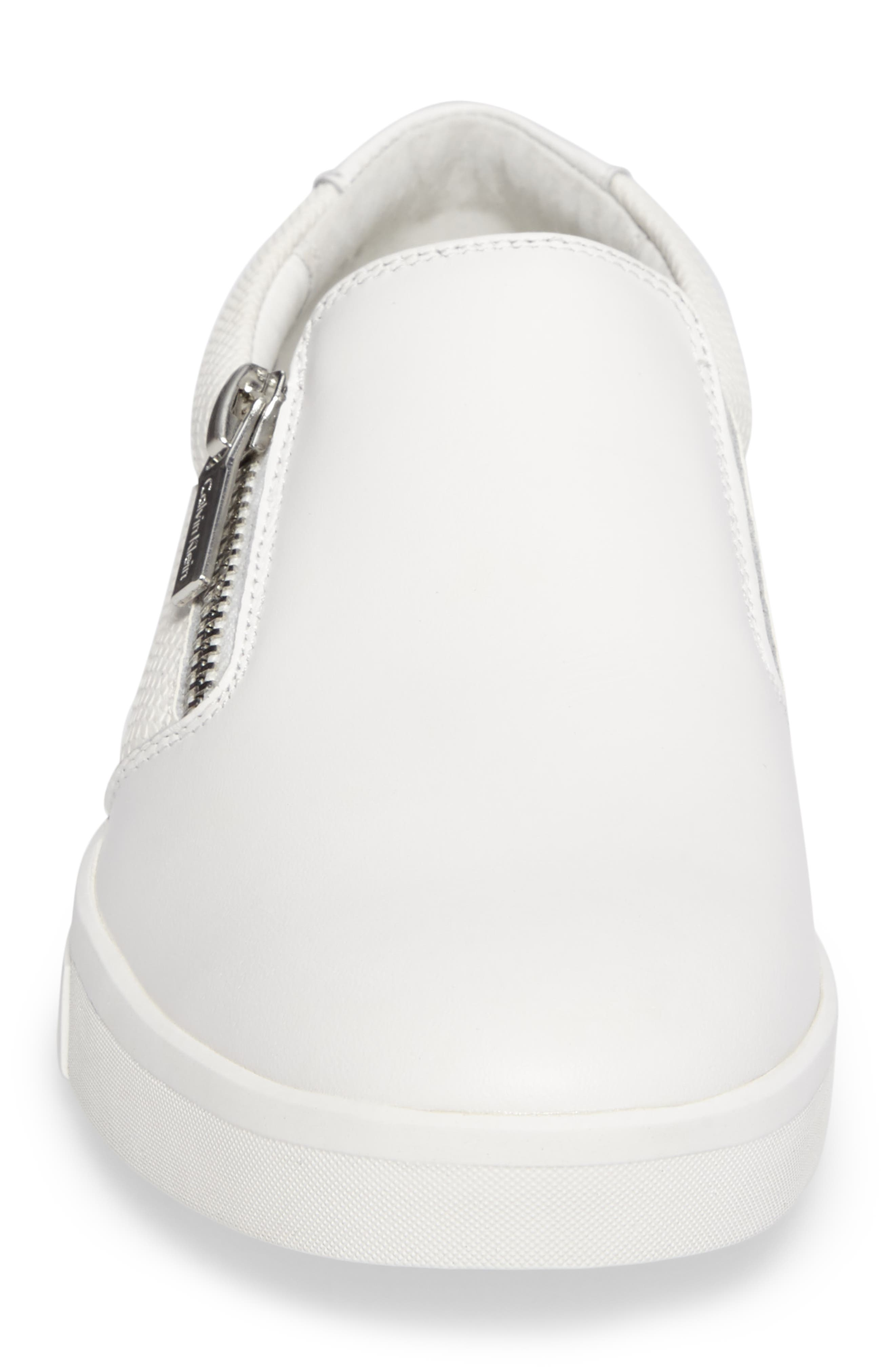 Ibiza Slip-On Zip Sneaker,                             Alternate thumbnail 4, color,                             White Leather
