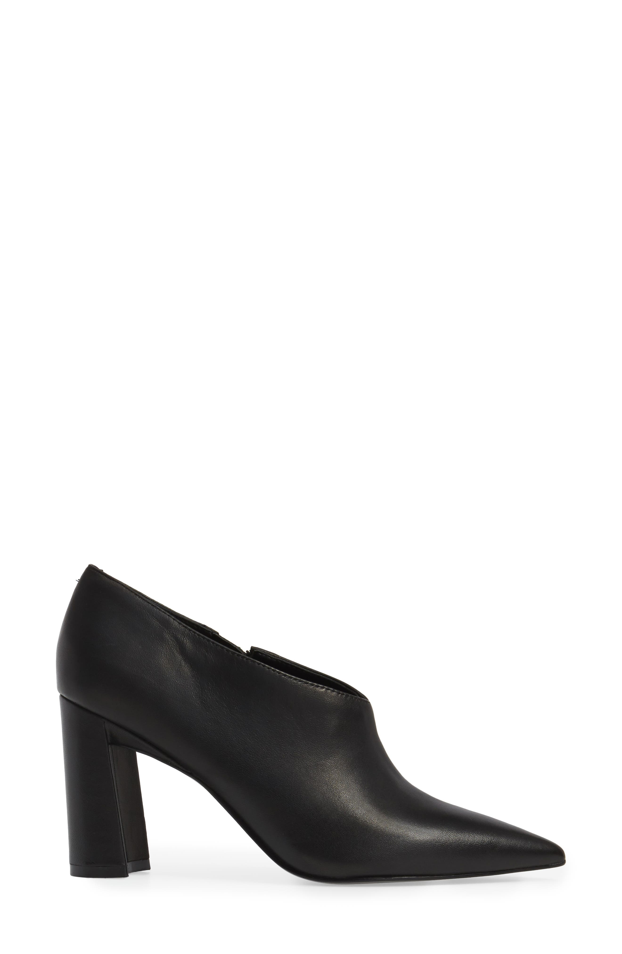 Hoda Pointy Toe Bootie,                             Alternate thumbnail 3, color,                             Black Leather