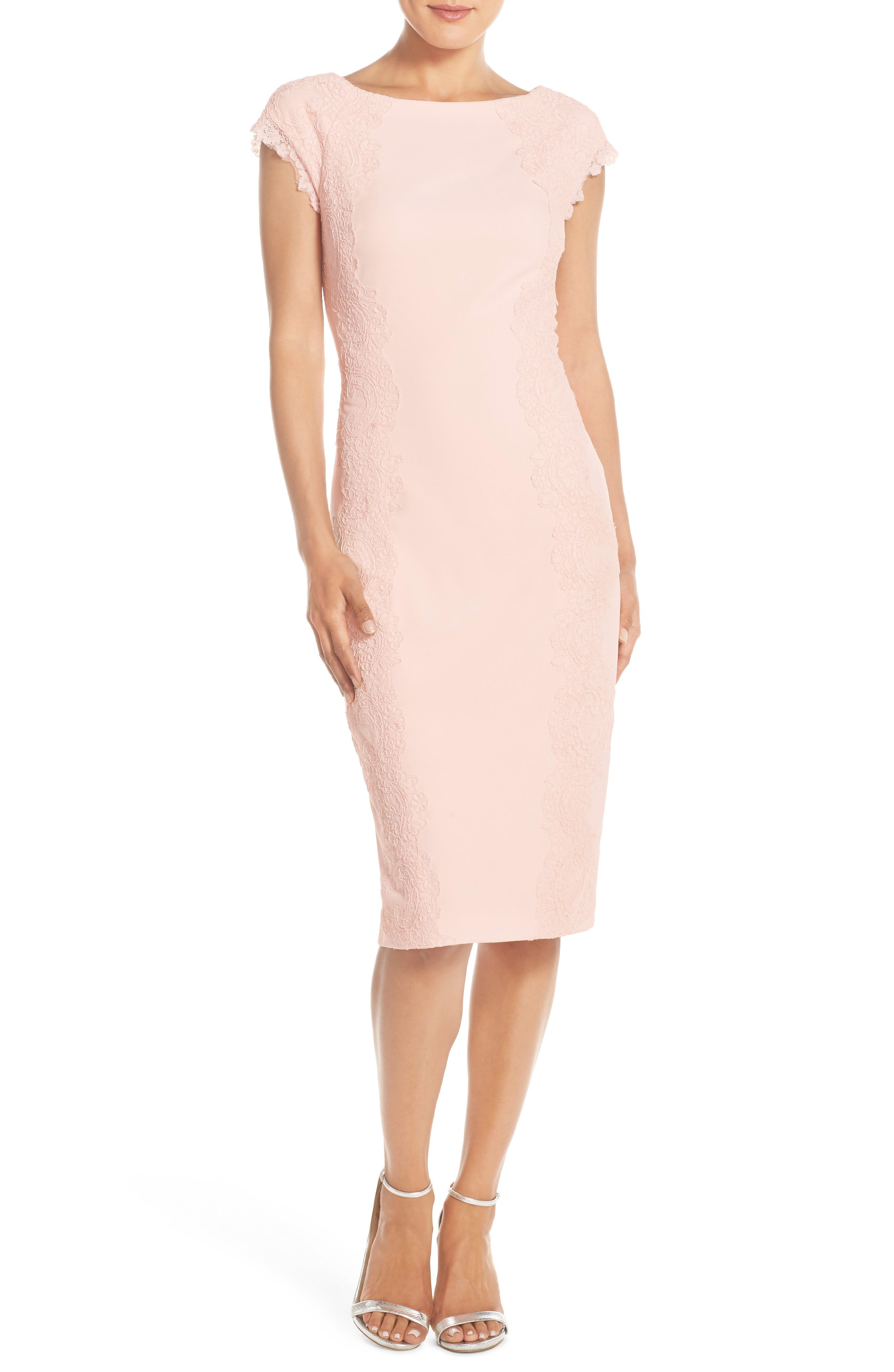 Lace Detail Crepe Sheath Dress,                             Main thumbnail 1, color,                             Blush