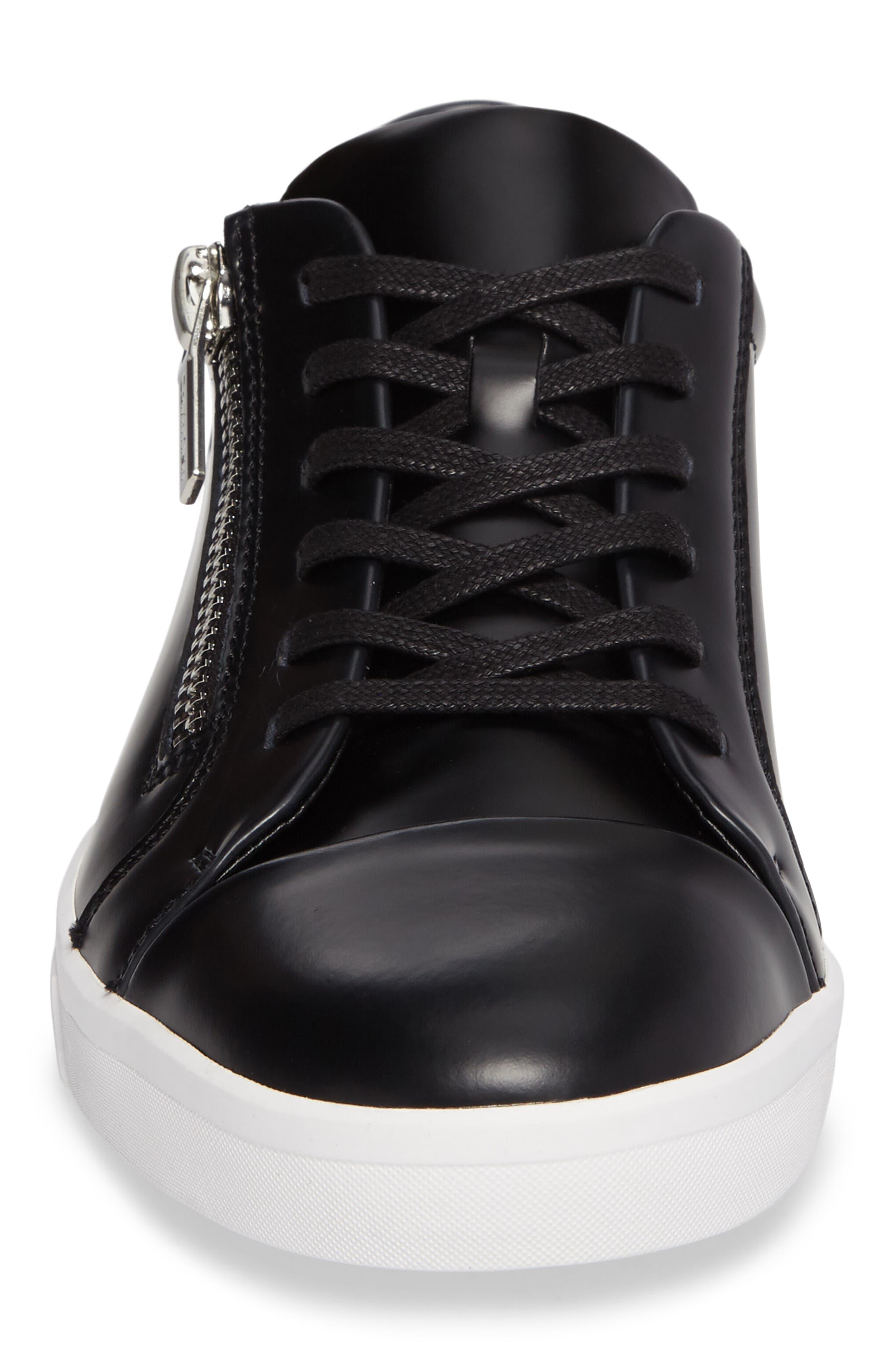 Ibrahim Cap-Toe Zip Sneaker,                             Alternate thumbnail 4, color,                             Black Leather