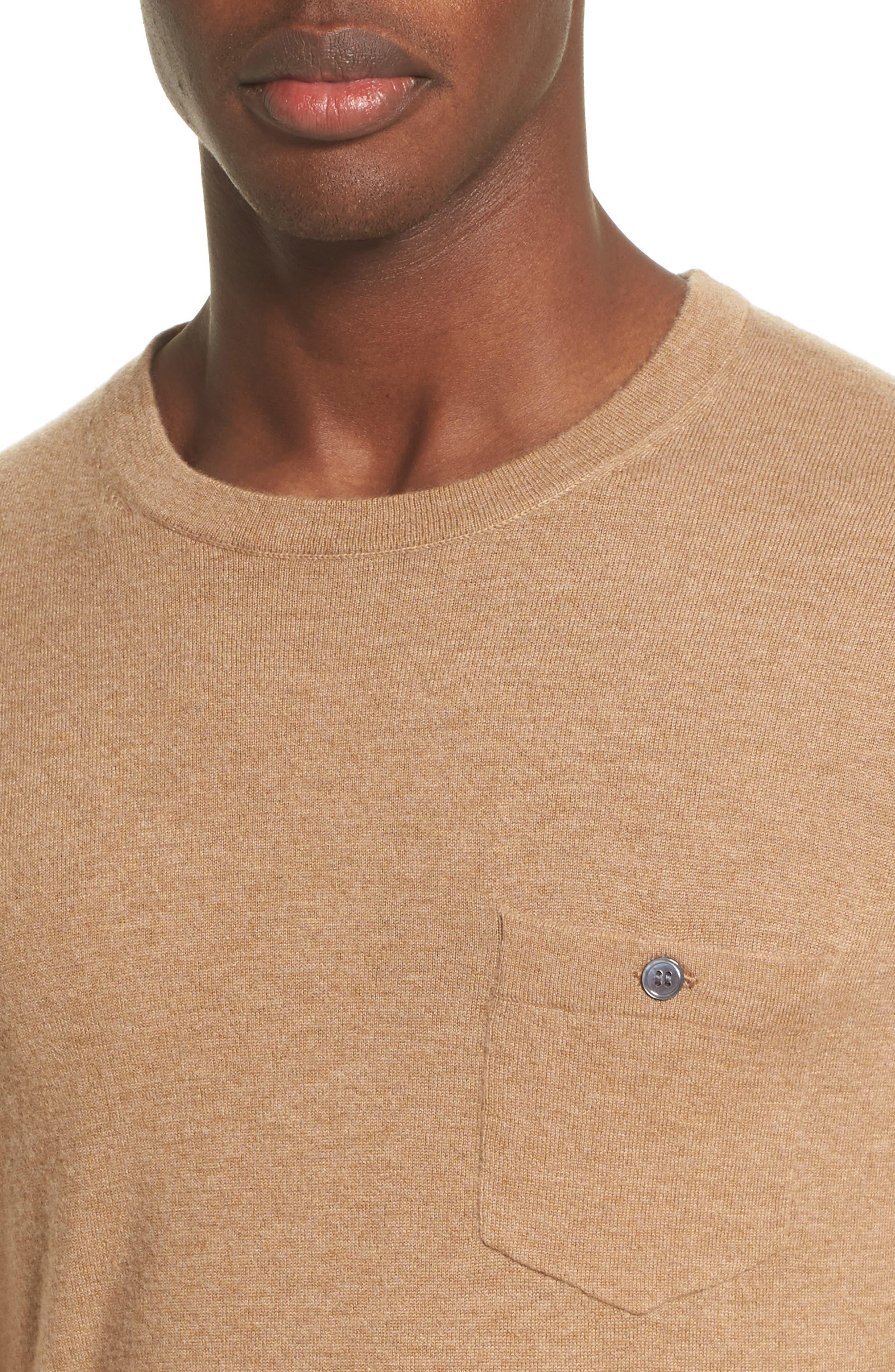 Cashmere Pocket T-Shirt,                             Alternate thumbnail 4, color,                             Camel