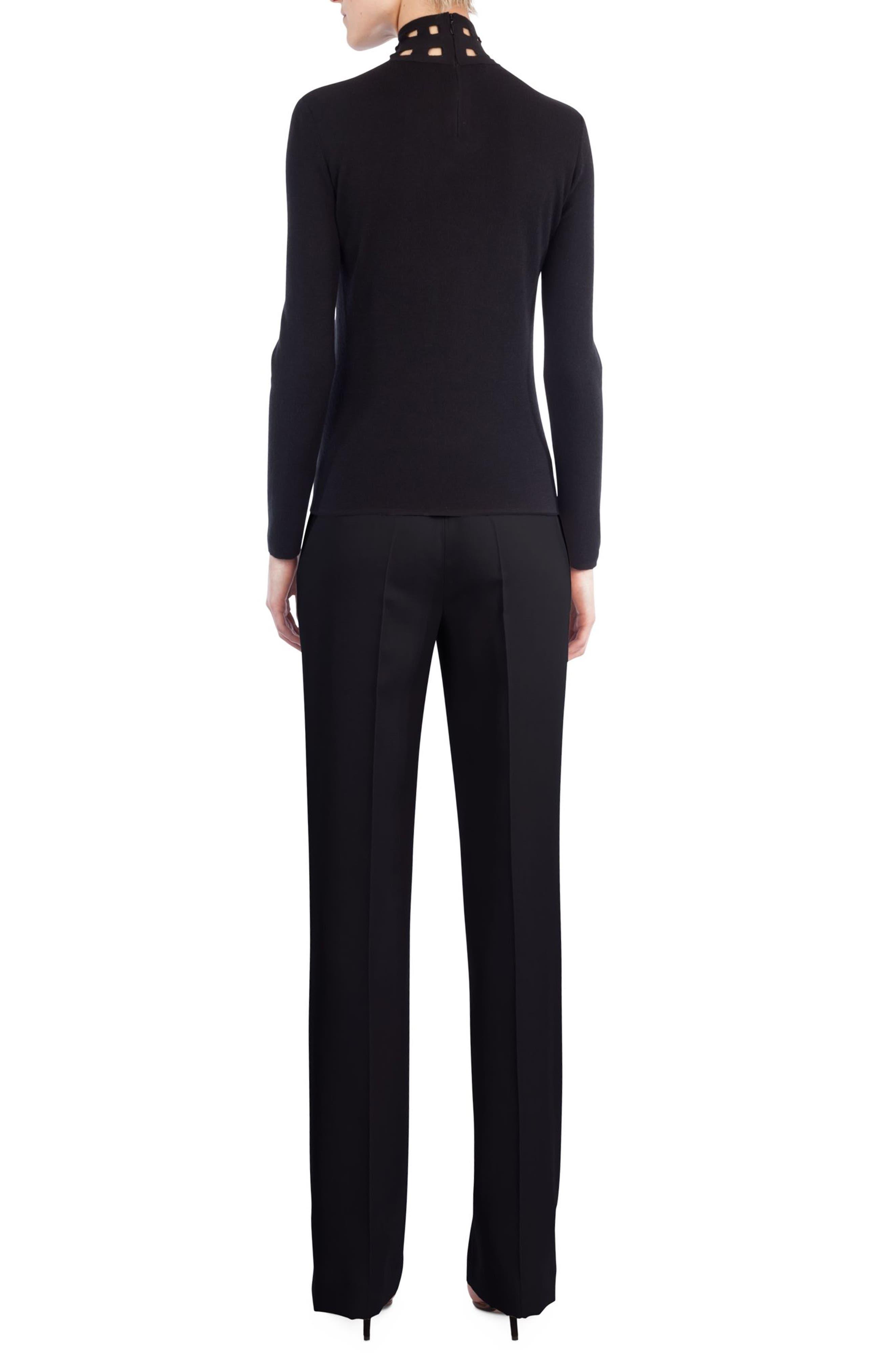 St. Gallen Cutout Cashmere & Silk Turtleneck Sweater,                             Alternate thumbnail 2, color,                             Black