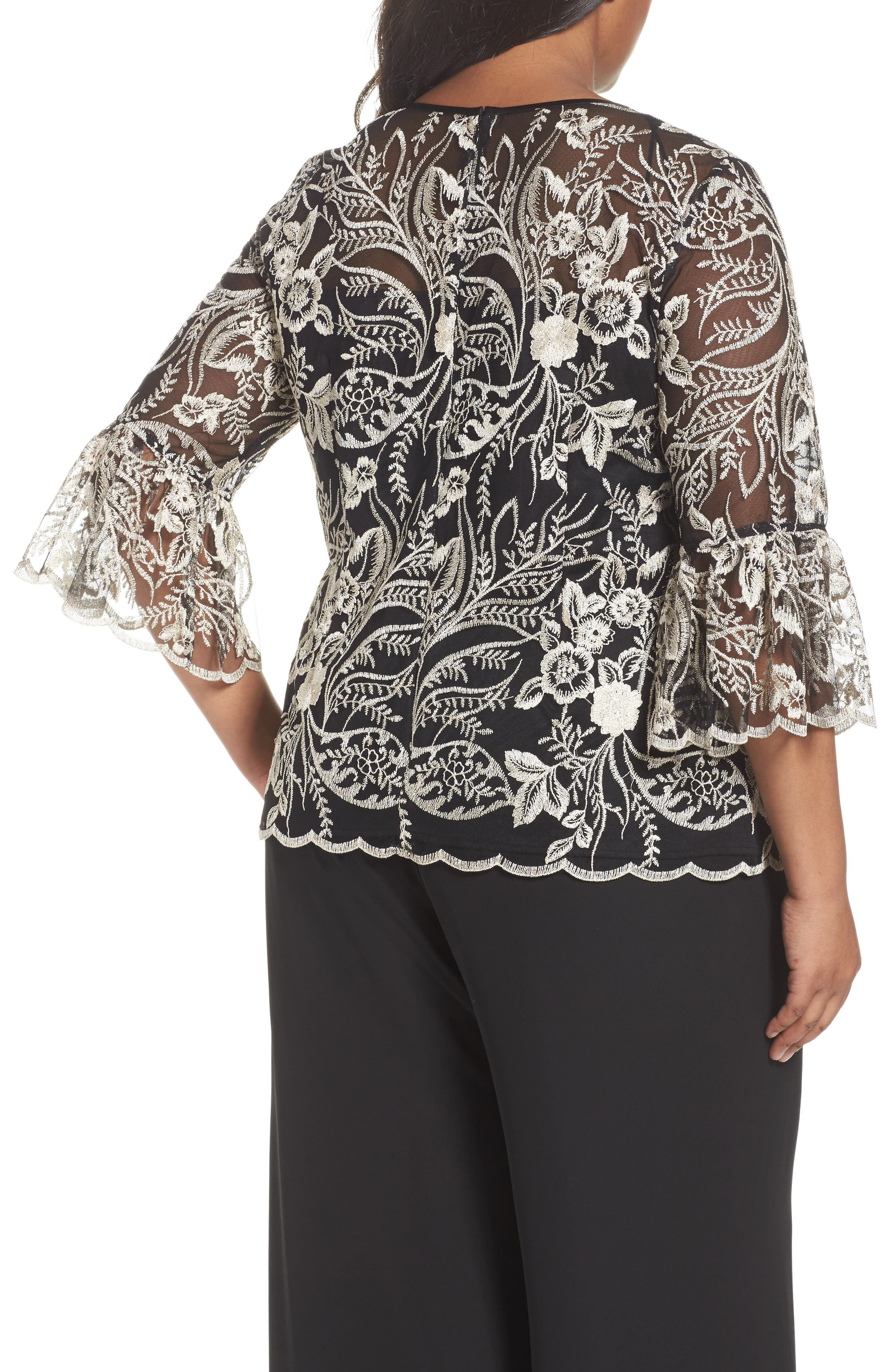 Alternate Image 2  - Alex Evenings Embroidered Bell Sleeve Blouse (Plus Size)