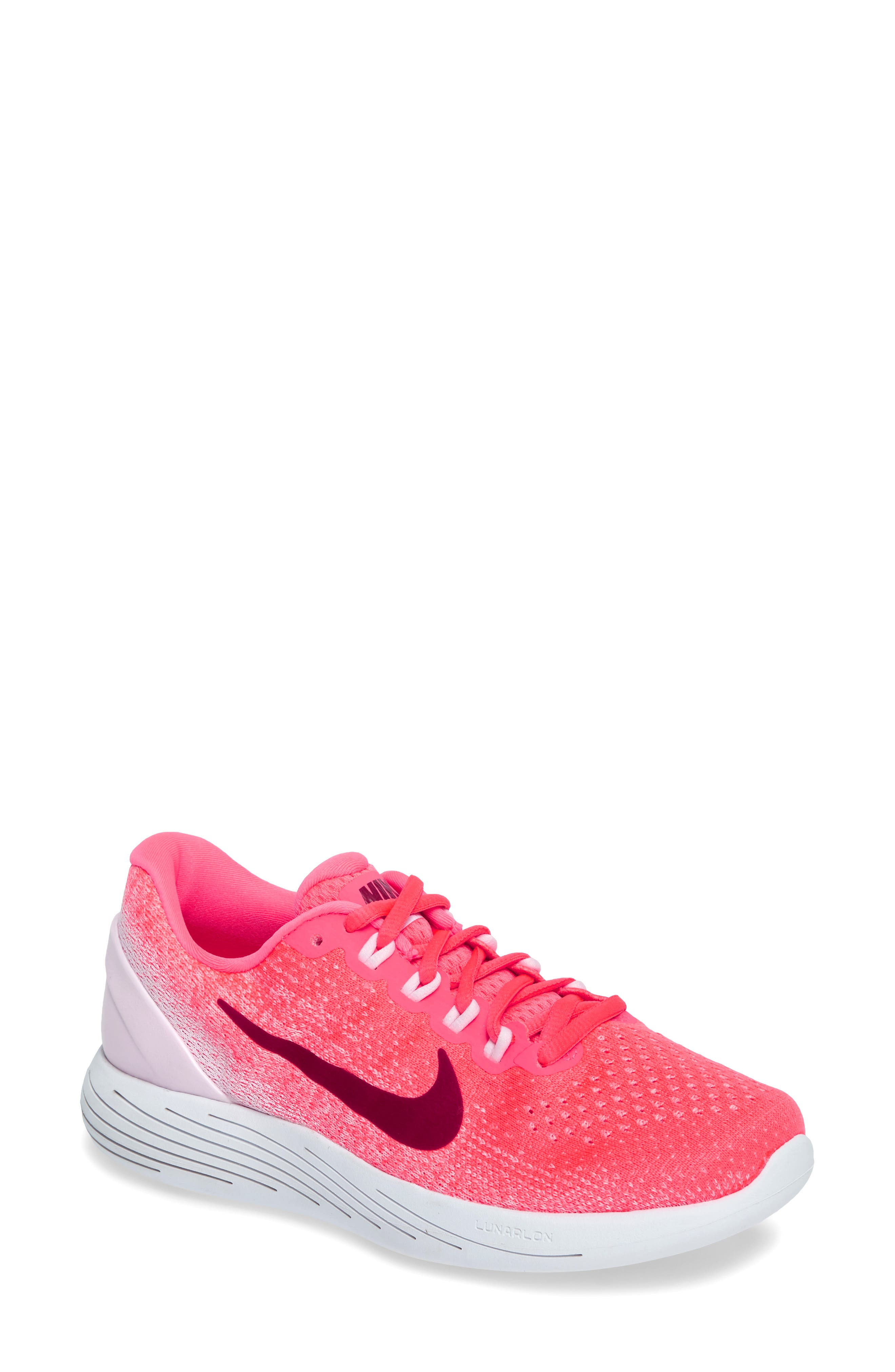 LunarGlide 9 Running Shoe,                         Main,                         color, Hot Punch/ Noble Red/ Arctic