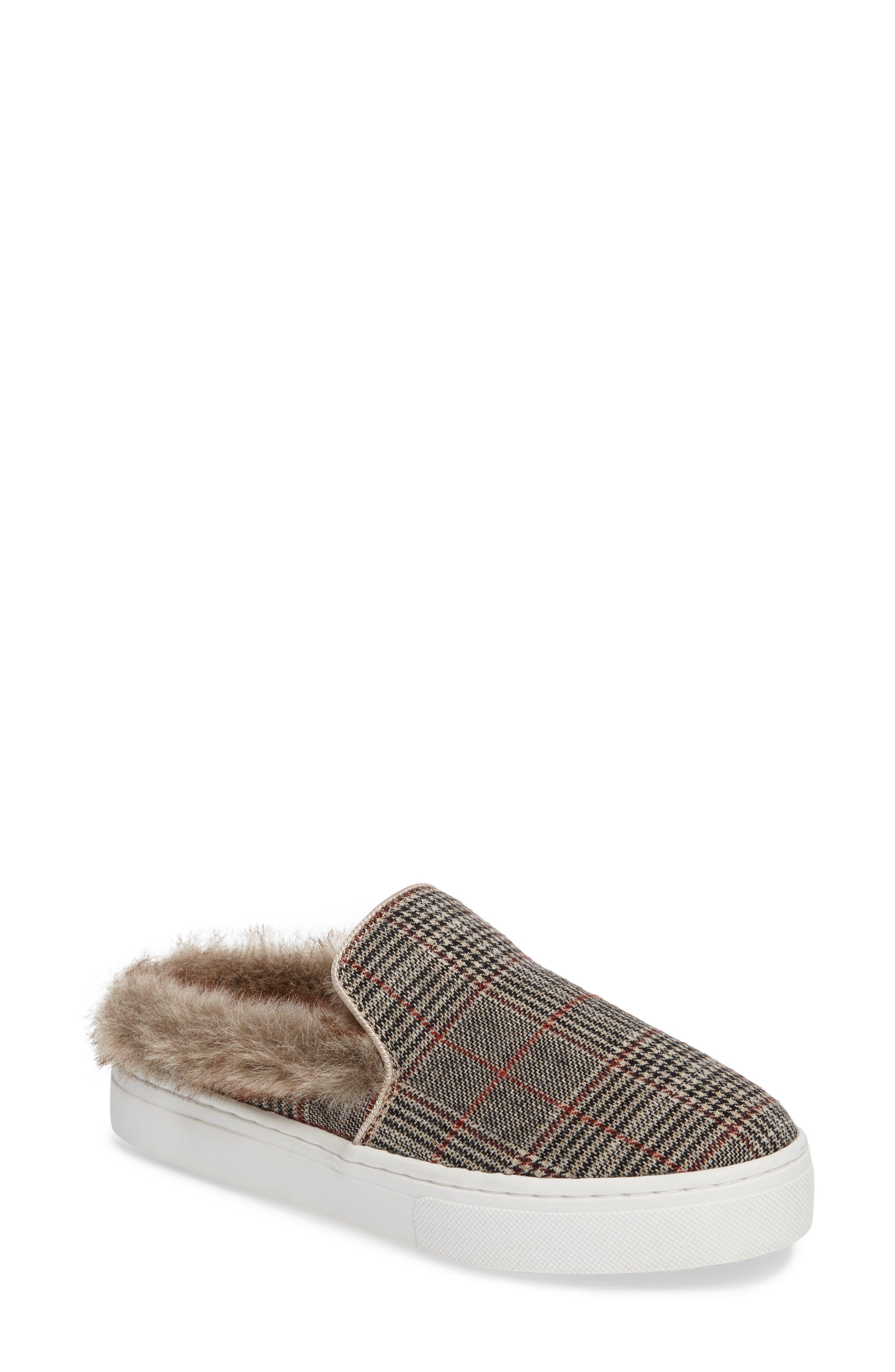 Levonne Platform Sneaker Mule,                         Main,                         color, Ivory Plaid Fabric