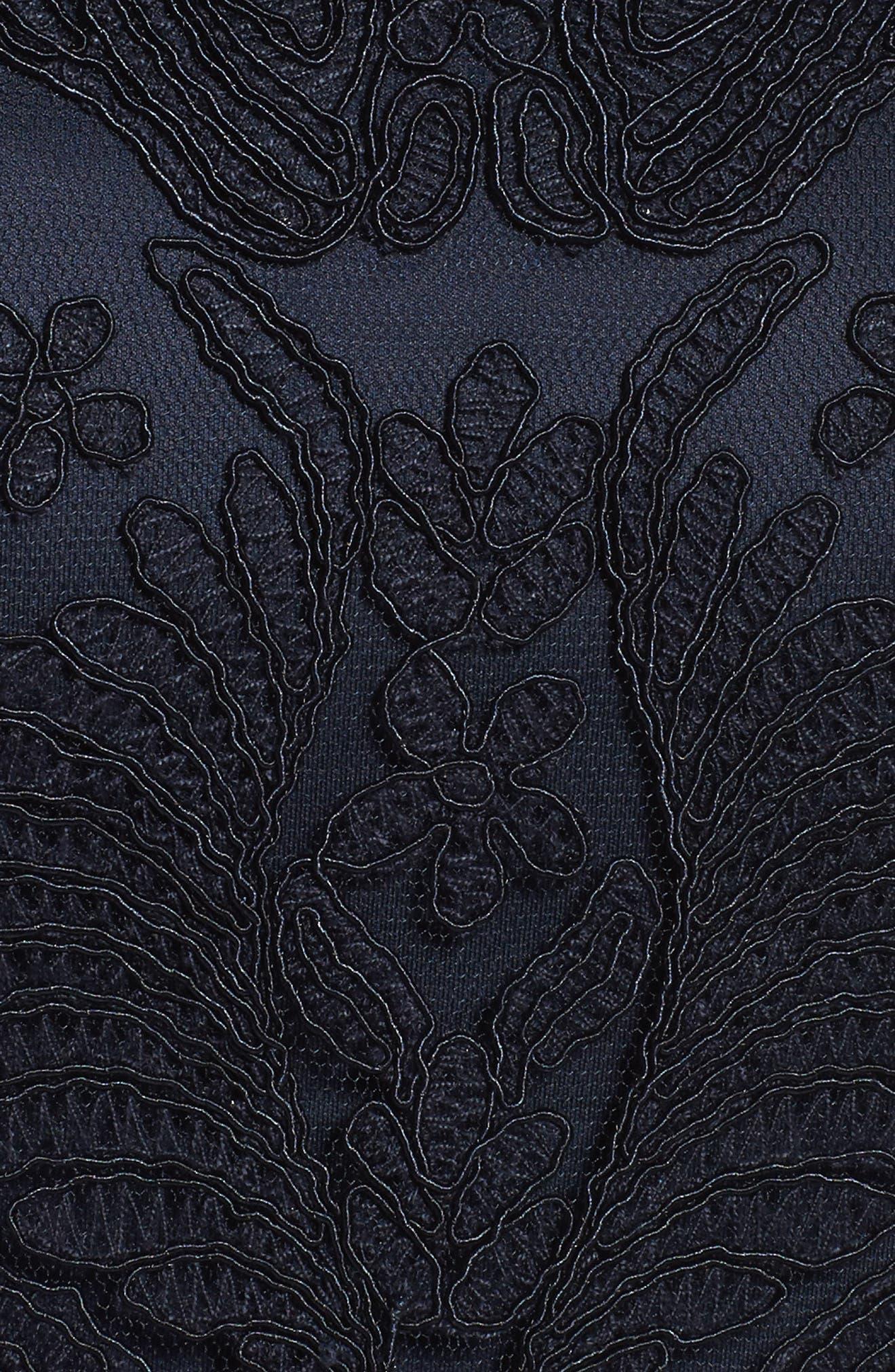 Alternate Image 5  - Tadashi Shoji Mock Neck Corded Tulle Sheath Dress (Regular & Petite)