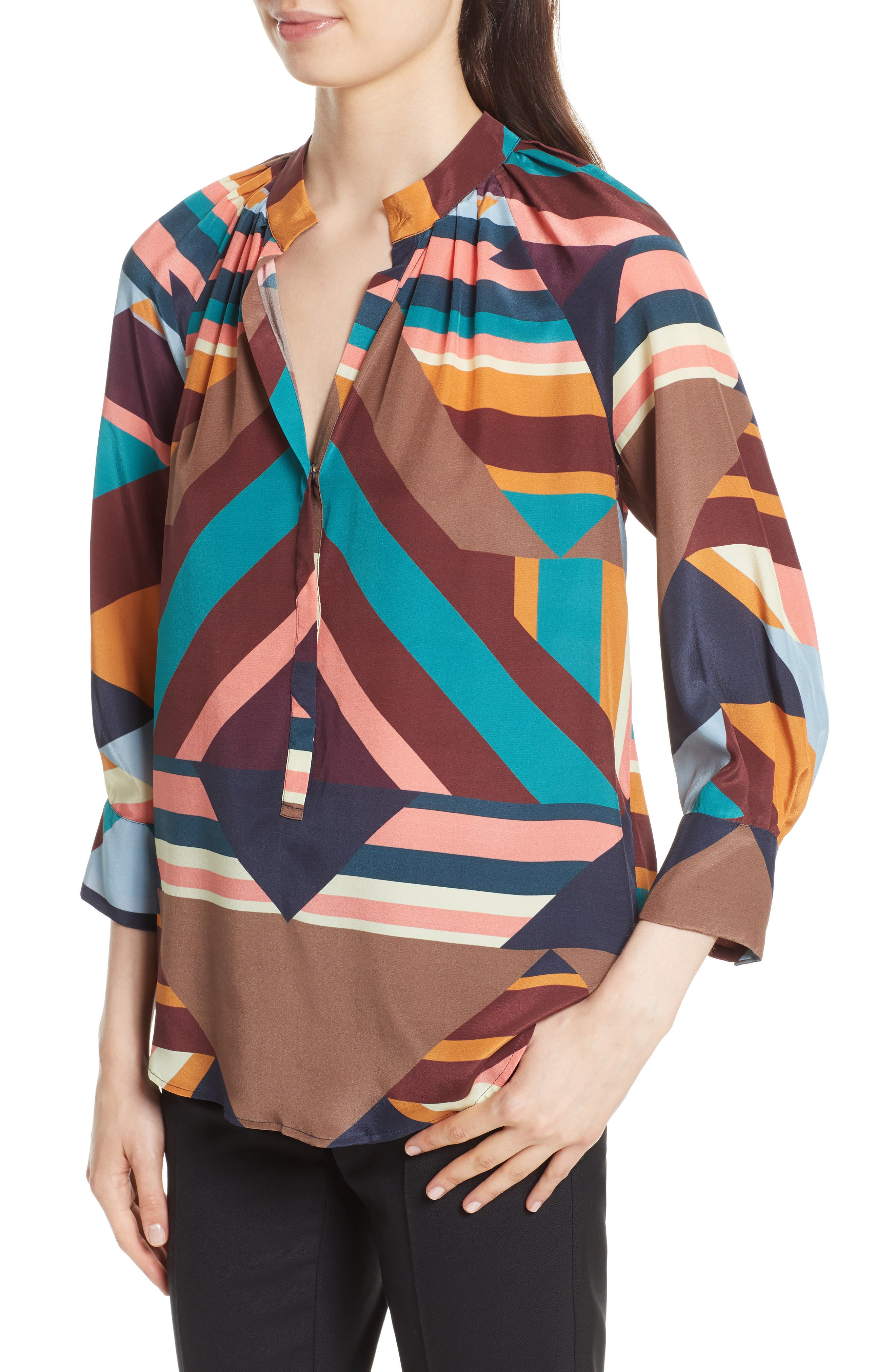 Geometric Print Silk Peasant Blouse,                             Alternate thumbnail 4, color,                             Geometric Stripe