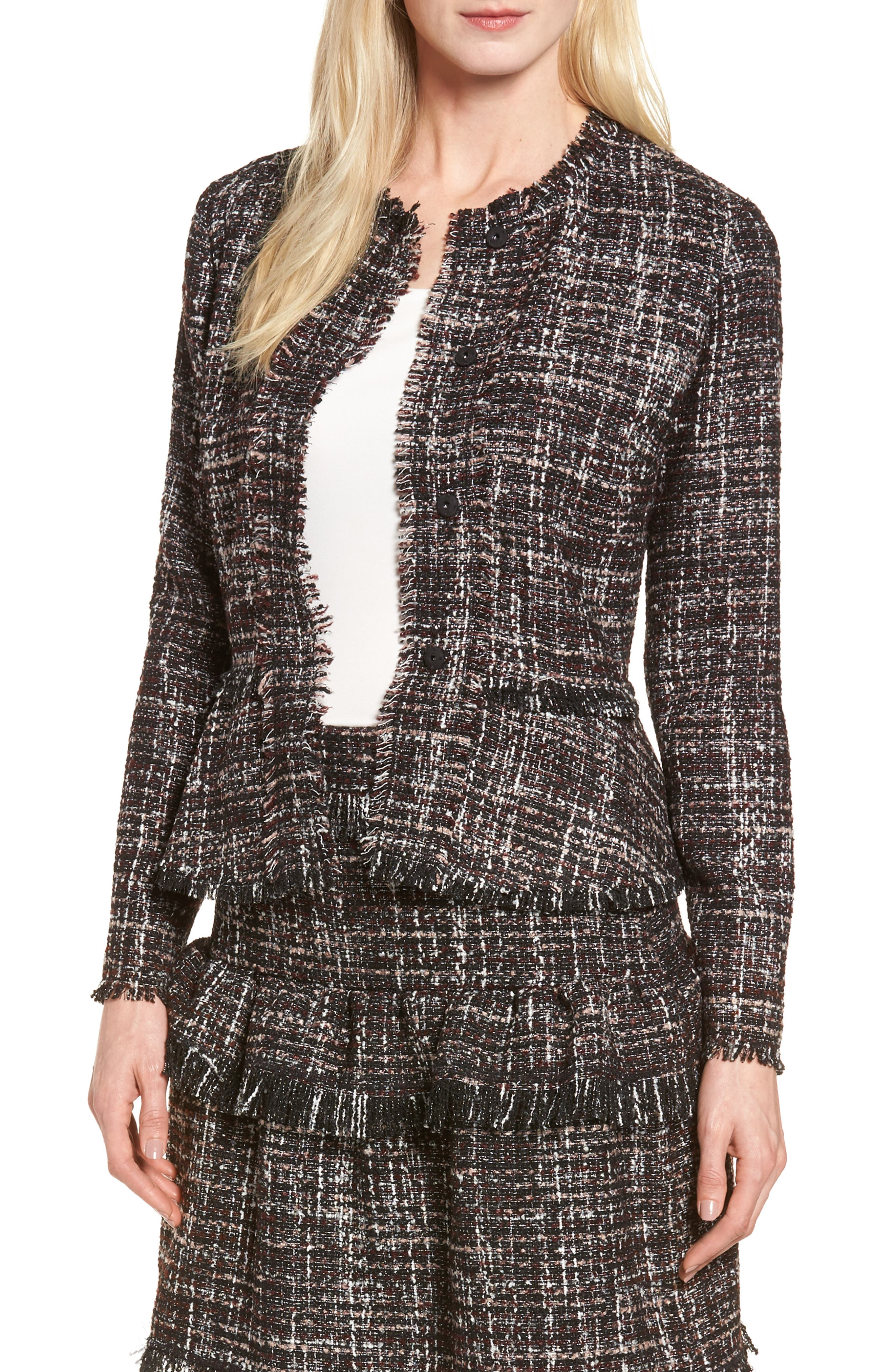 Halogen® Raw-Edge Tweed Peplum Jacket (Regular & Petite)