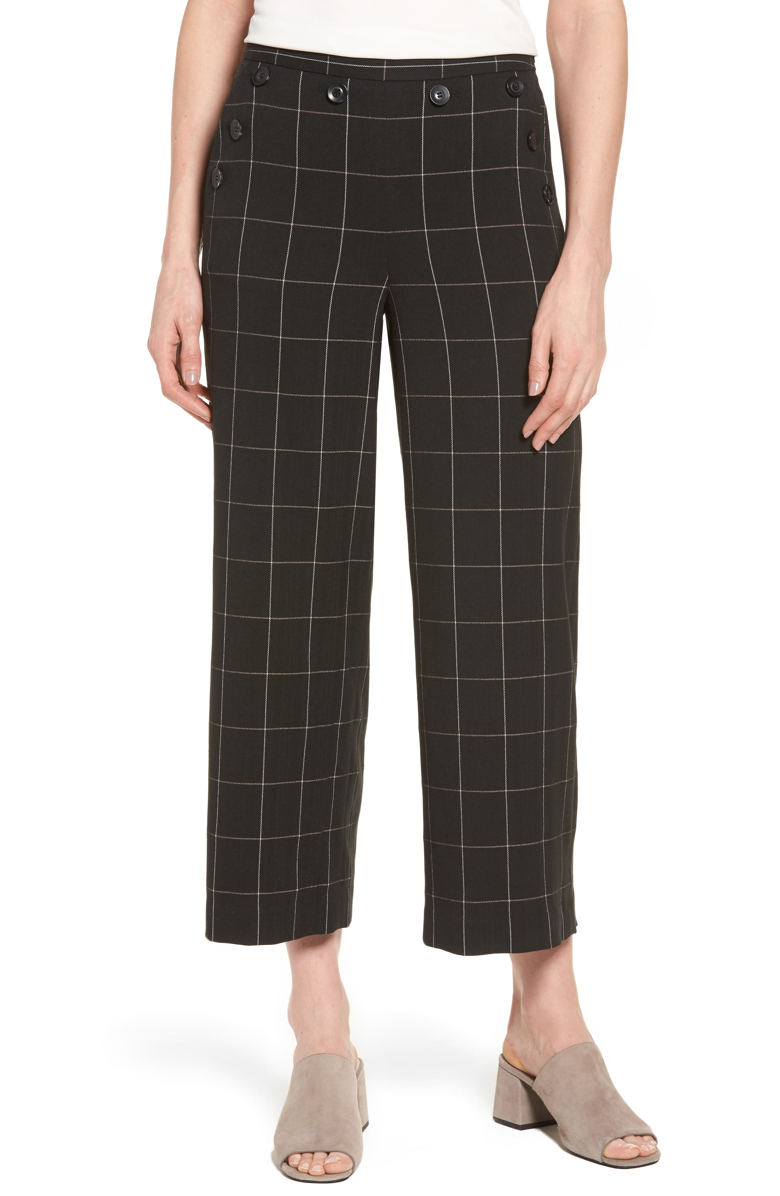 Halogen® Plaid Wide Leg Crop Pants (Regular & Petite)